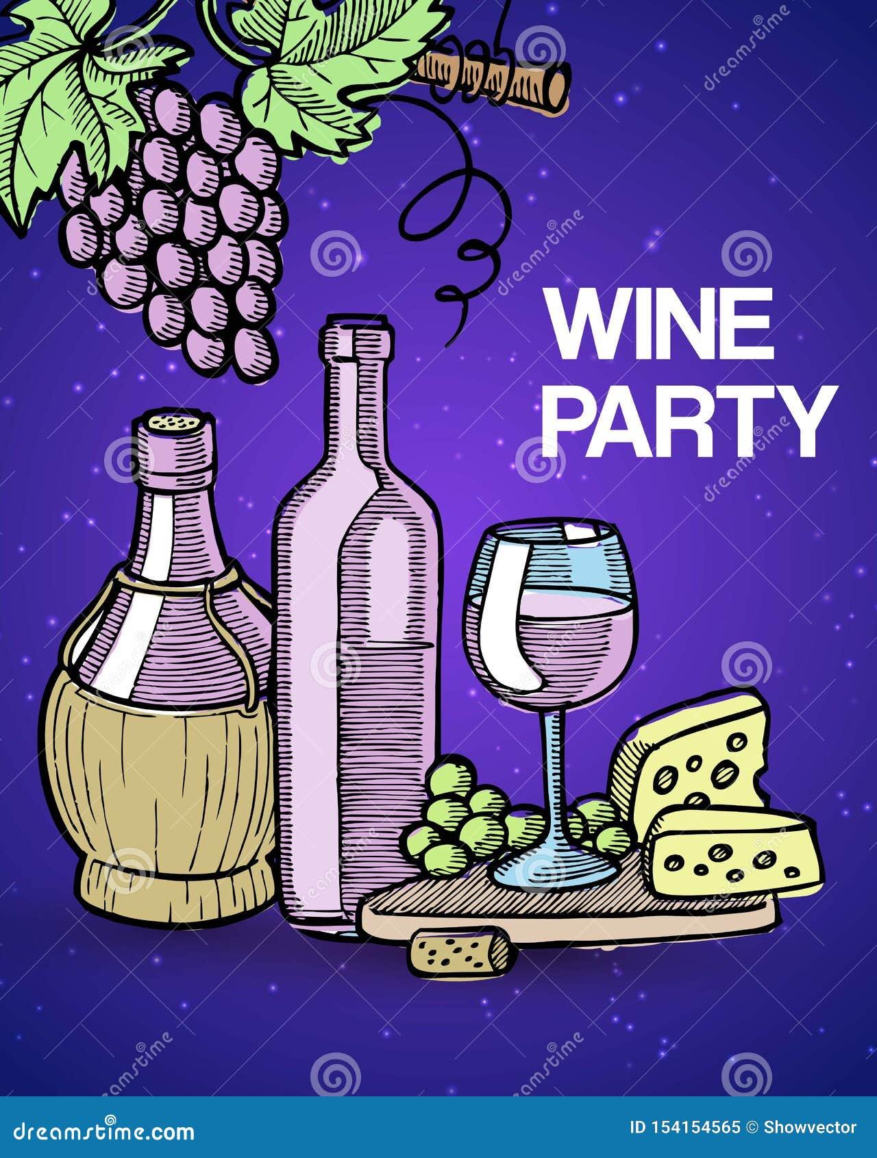 Weinprobepartei-Vektorillustration mit Weinleseskizzenglas und alten Flaschen Wein, Trauben und Käse Degustation