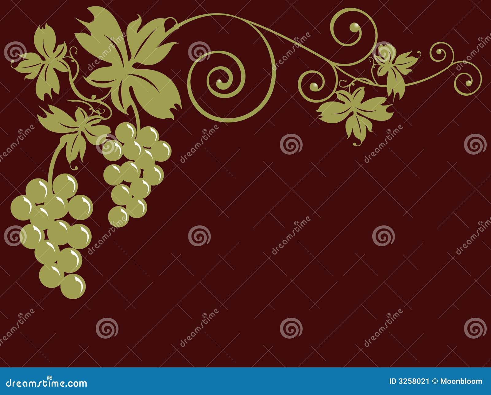 Weintrauben und Blätter