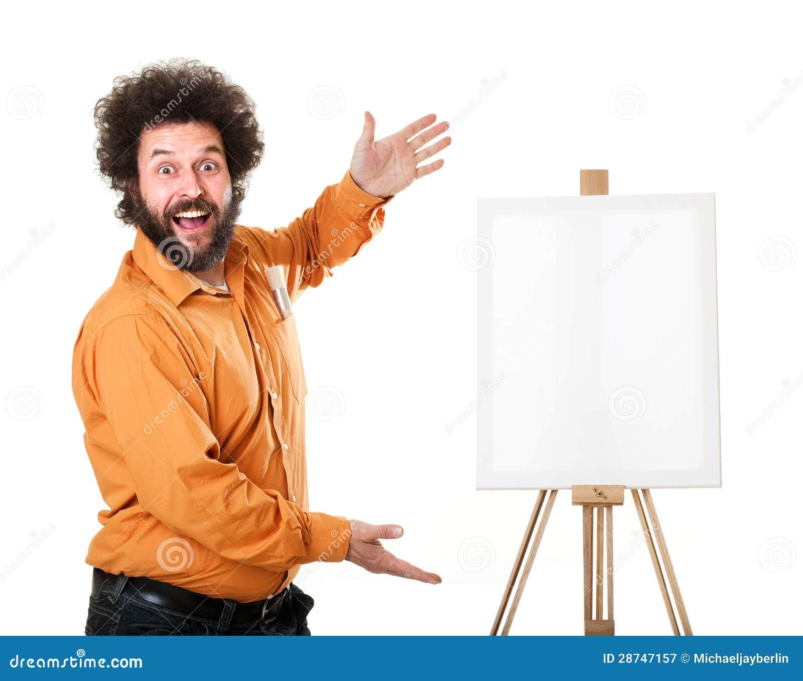 Weird painter in orange shirt