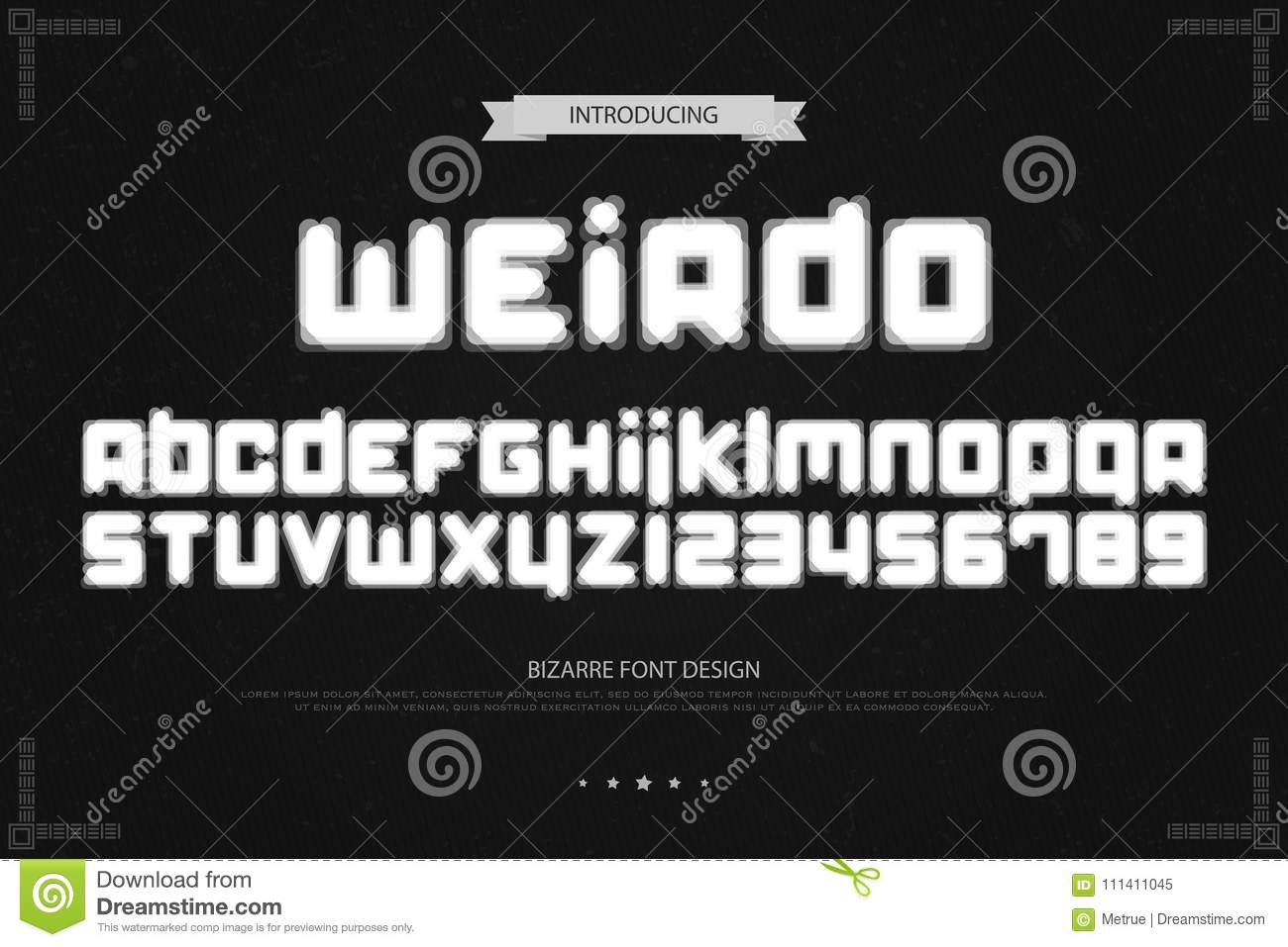 Weird Style Alphabet Letters And Numbers  Vector, Bizarre Font Type