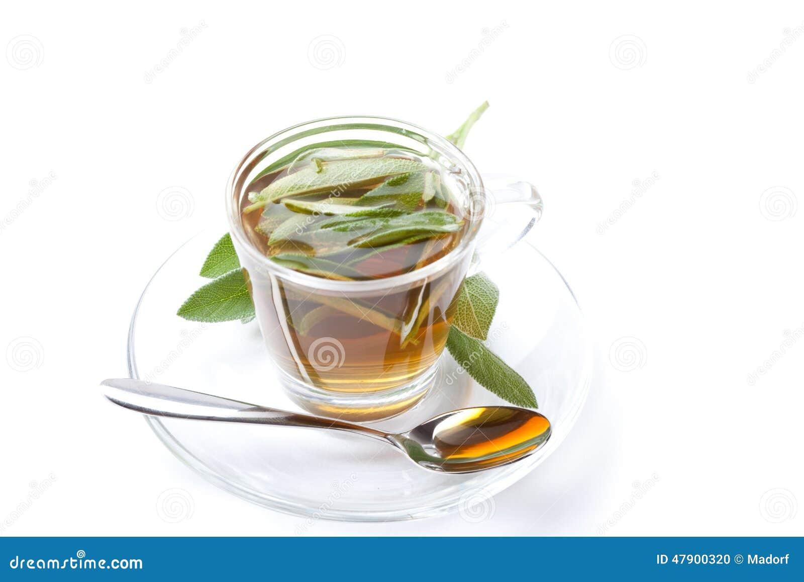 Weiser Tee Auf Weißem Hintergrund, Mit Frischem Kraut Innerhalb Der ...