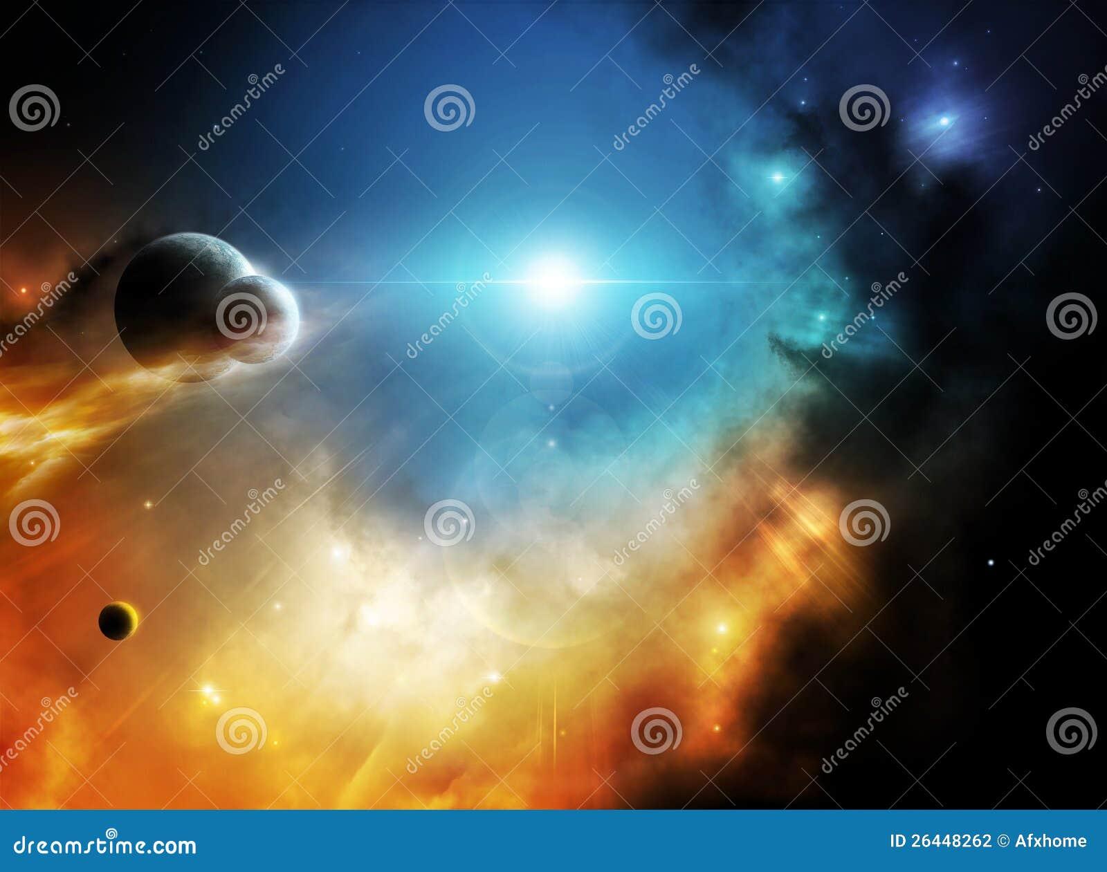 Weiter Weltraumphantasienebelfleck mit Planeten