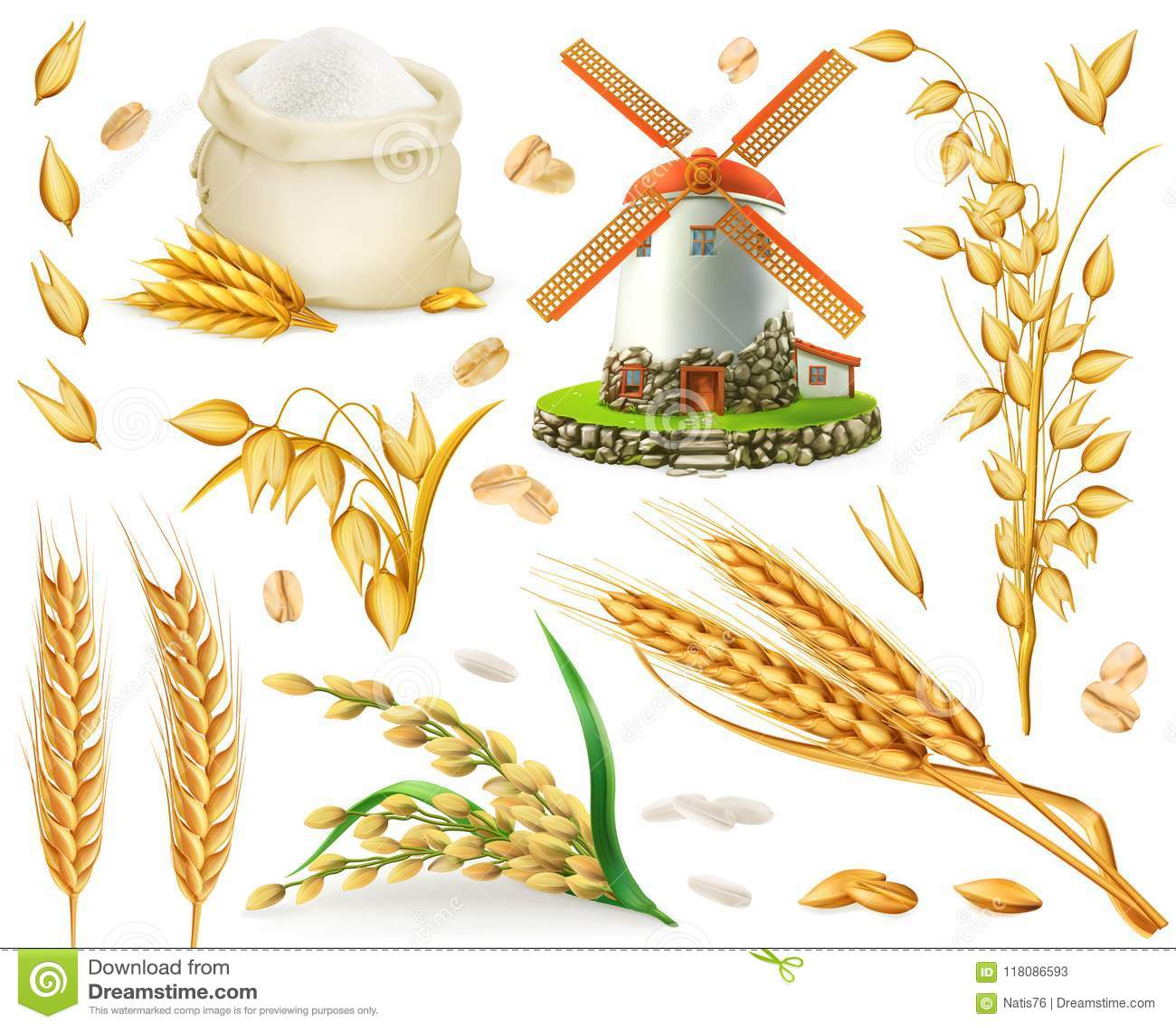 Weizen, Reis, Hafer, Gerste, Mehl, Mühle und Korn Ikonensatz des Vektors 3d