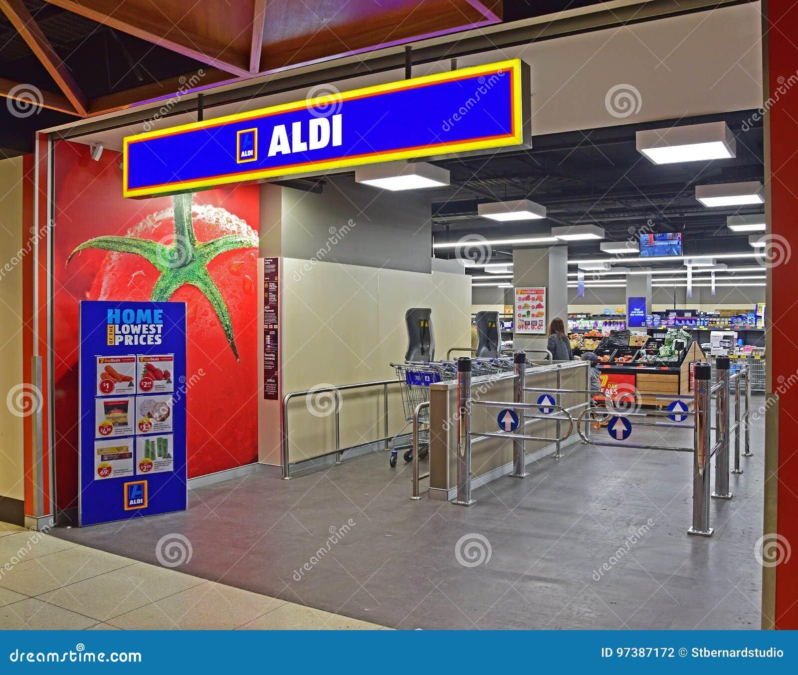 Wejście ALDI supermarket wśrodku handlowego budynku w Sydney, Australia