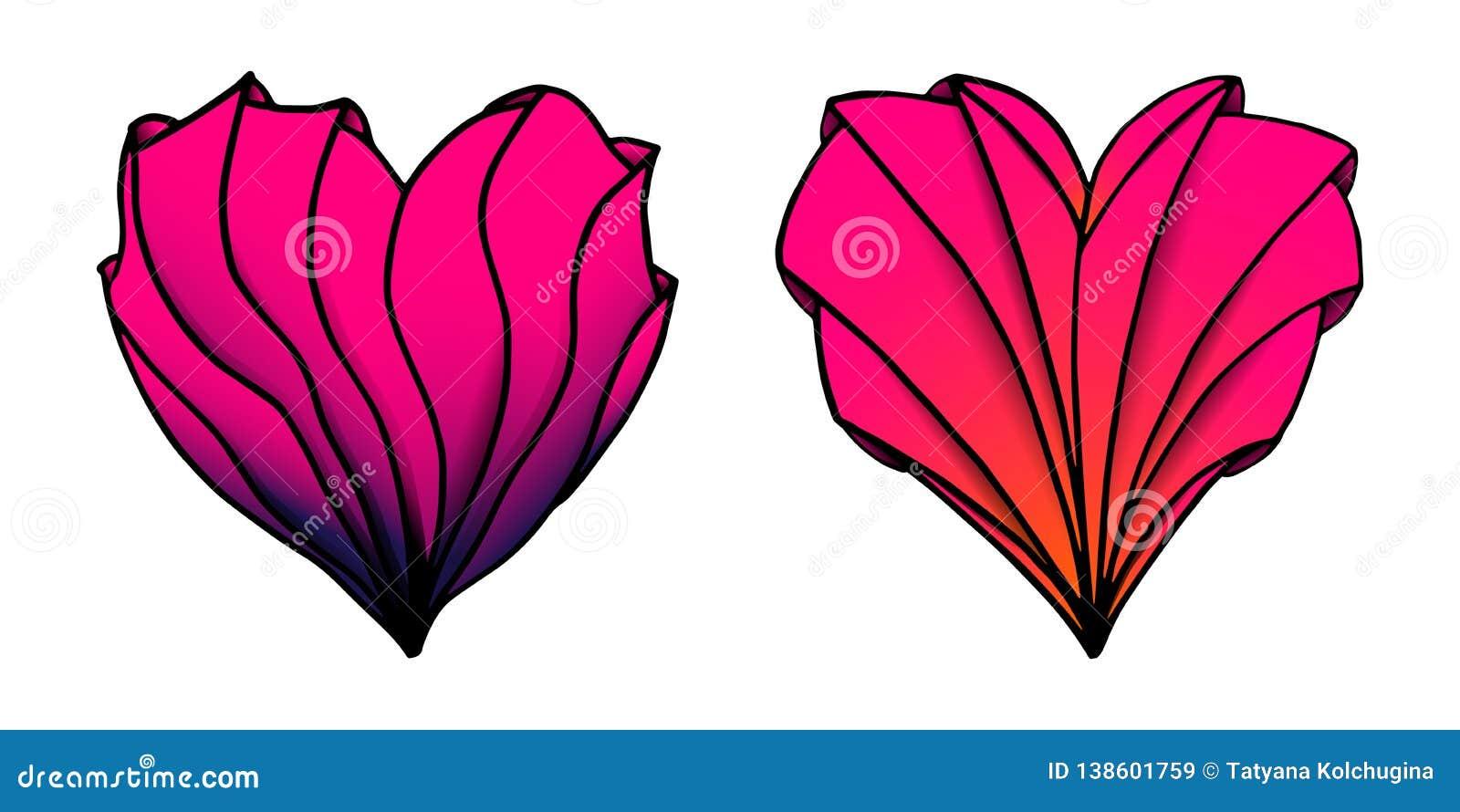 Wektor barwił ręki rysujących serca w zenart stylu