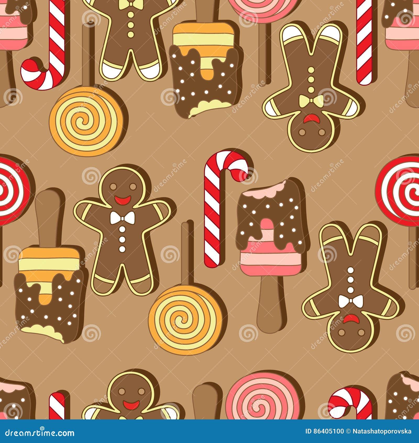 Wektor bezszwowy wzoru Christmassy ciastka