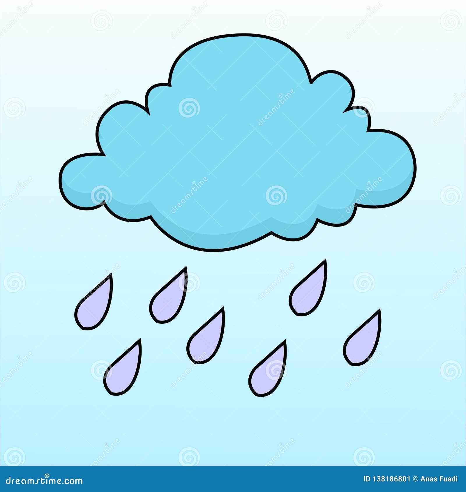 Wektor chmury i ulewny deszcz