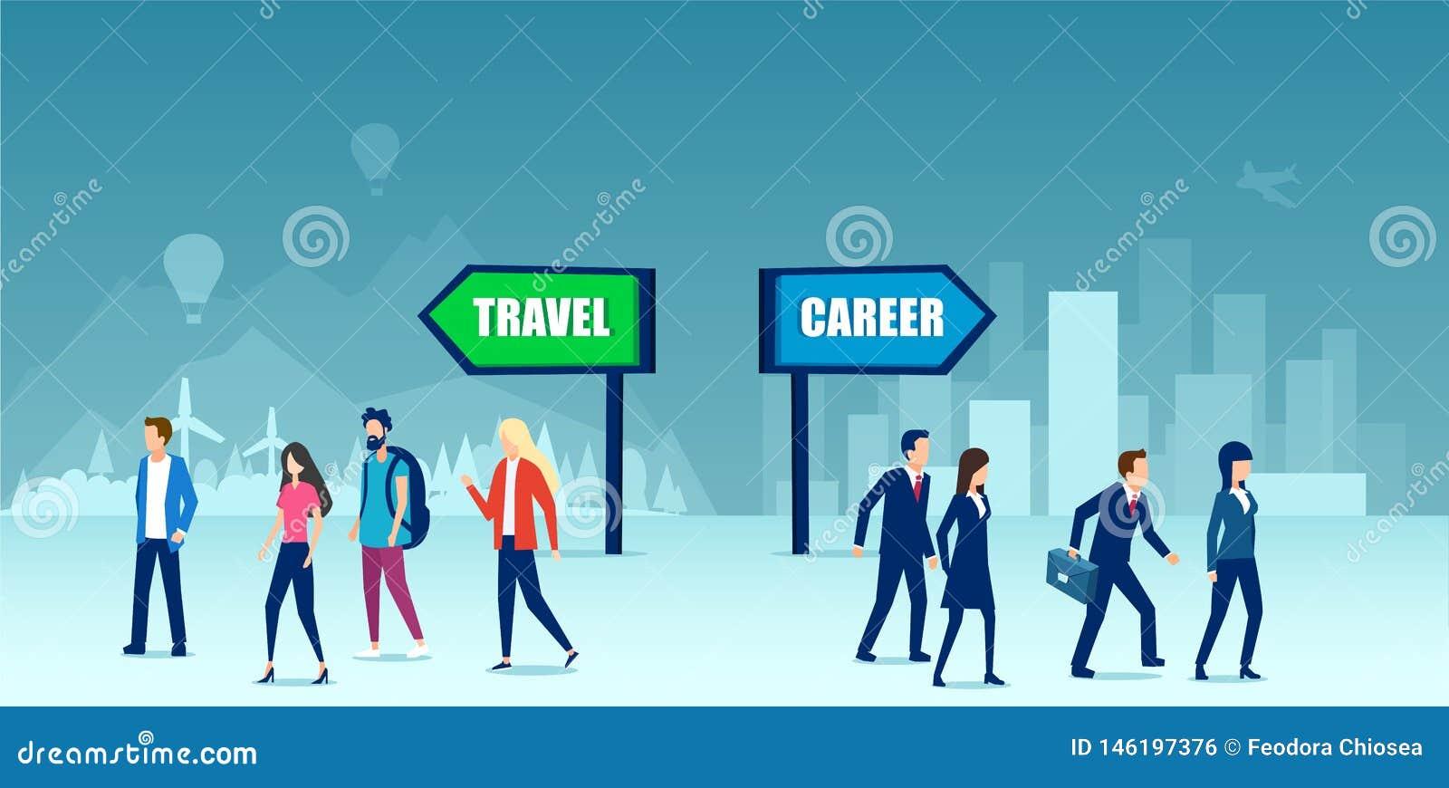 Wektor dzielący grupa ludzi robi kariera czasu wolnego lub wyboru czasowi podróży