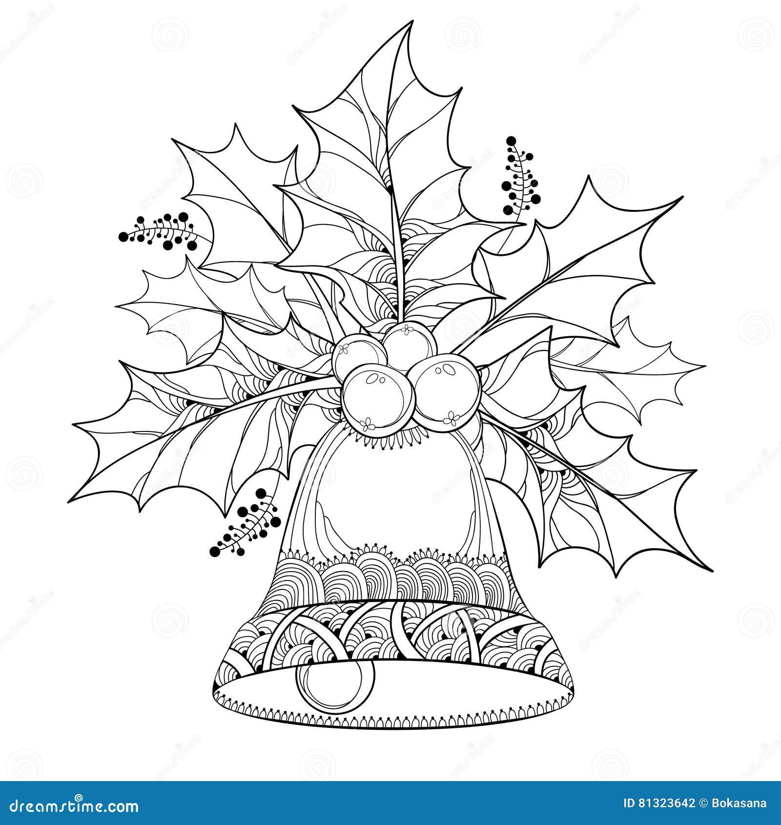 Wektor gałąź z konturów liśćmi i jagody jagoda i ozdobny dzwon na białym tle ostrokrzewu lub holly