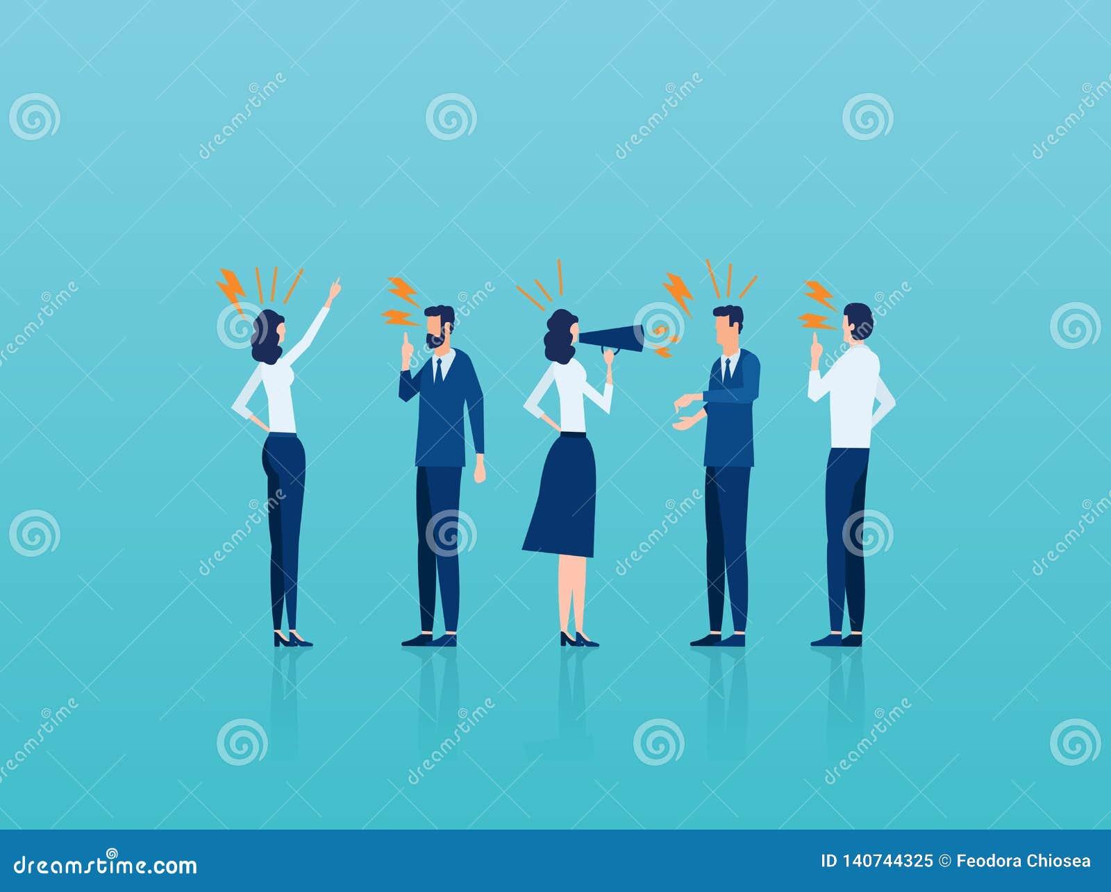 Wektor gniewni biznesmenów mężczyźni, kobiety jest agresywny wrzeszczeć przy each inny i