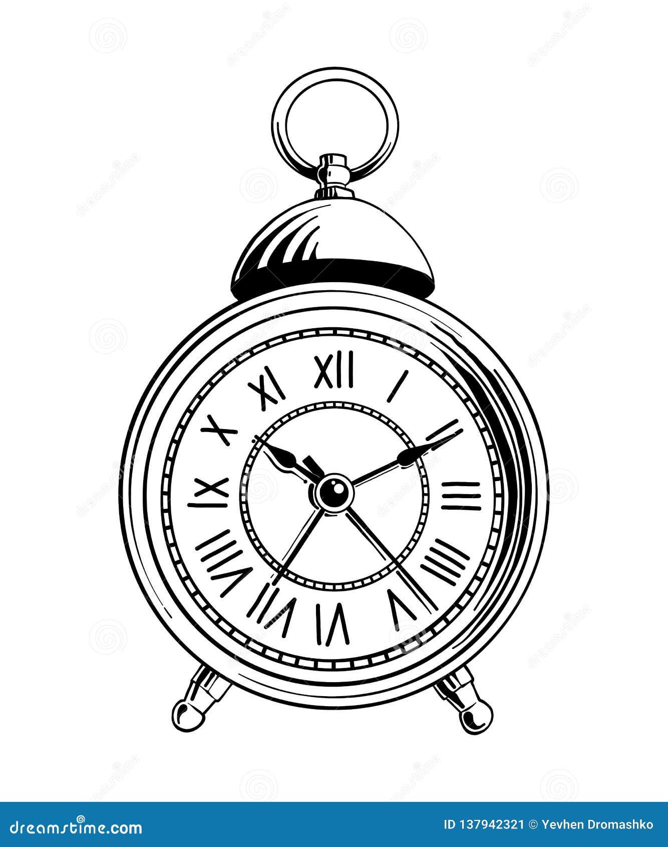 Wektor grawerująca stylowa ilustracja dla plakatów, dekoraci i druku, Ręka rysujący nakreślenie budzik w czerni