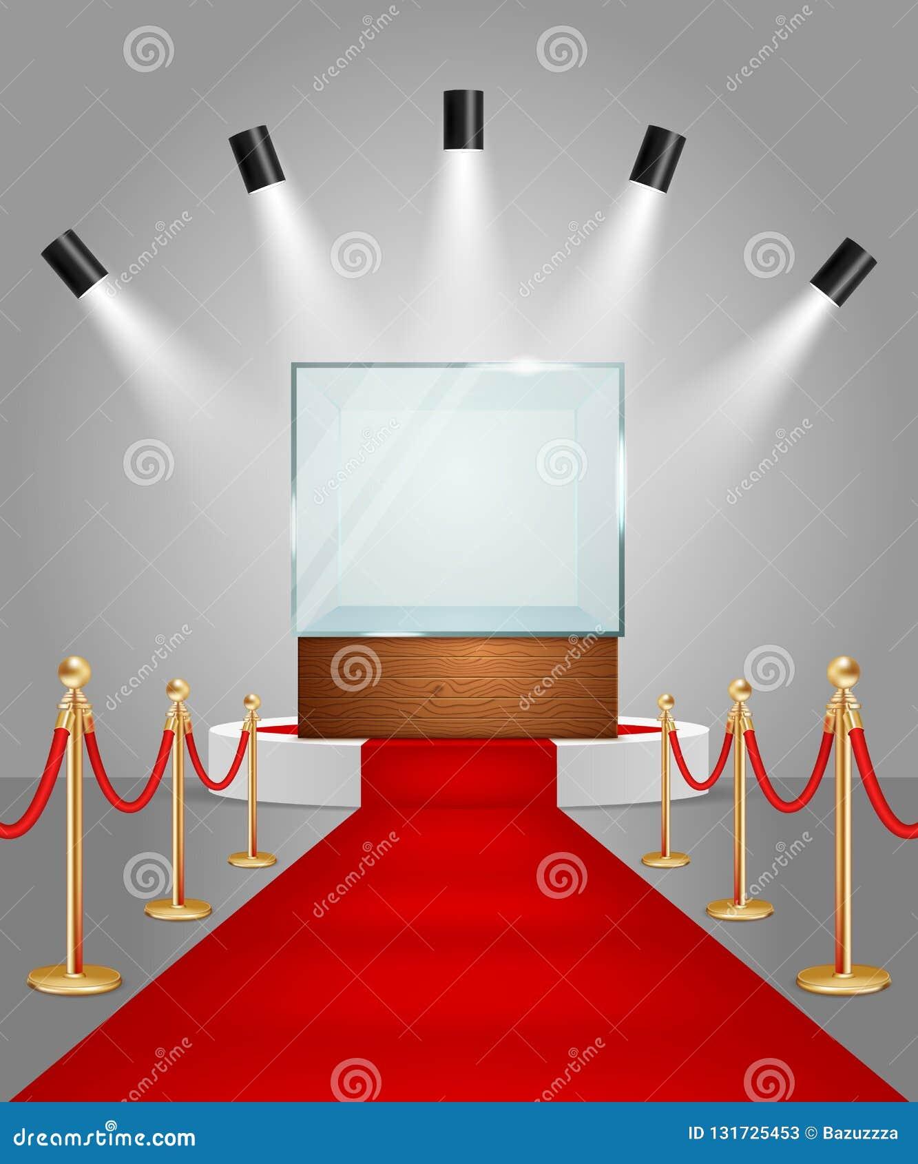Wektor iluminujący podium z czerwonym chodnikiem i gablotą wystawową
