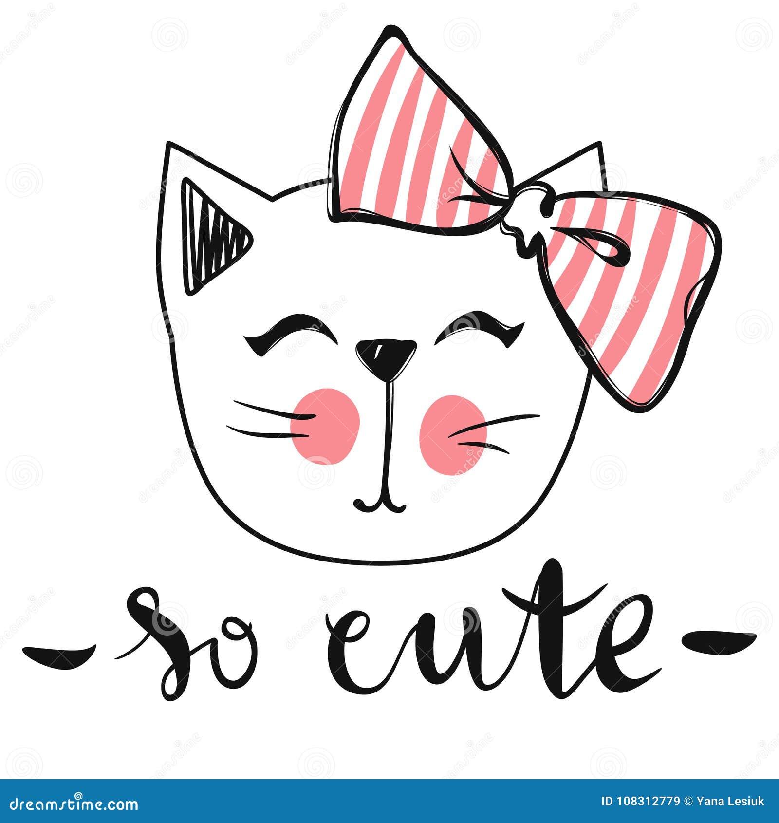 Wektor karta z ślicznym moda kotem Elegancka figlarka Doodle kiciunia