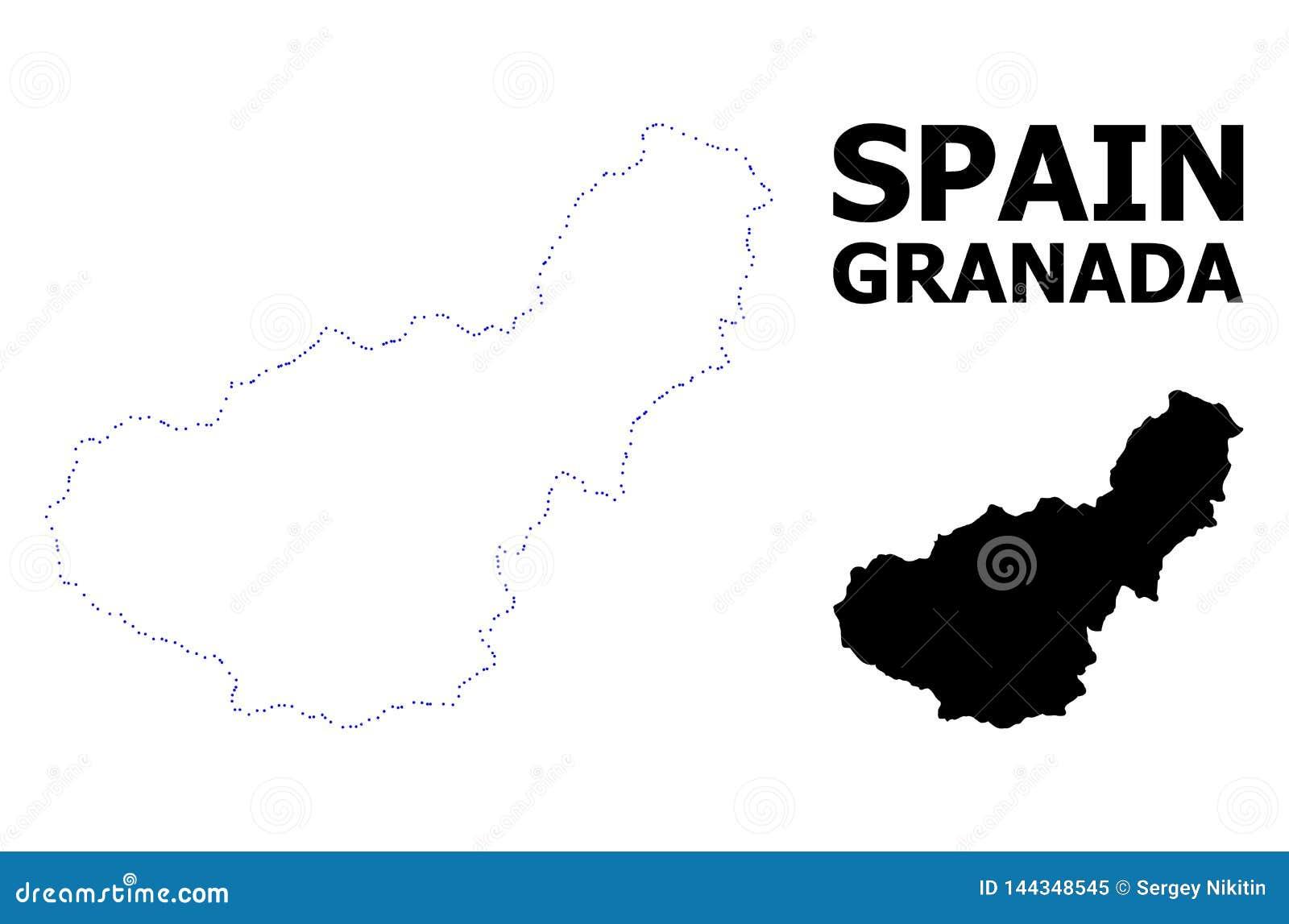 Wektor kontur Kropkująca mapa Granada prowincja z podpisem