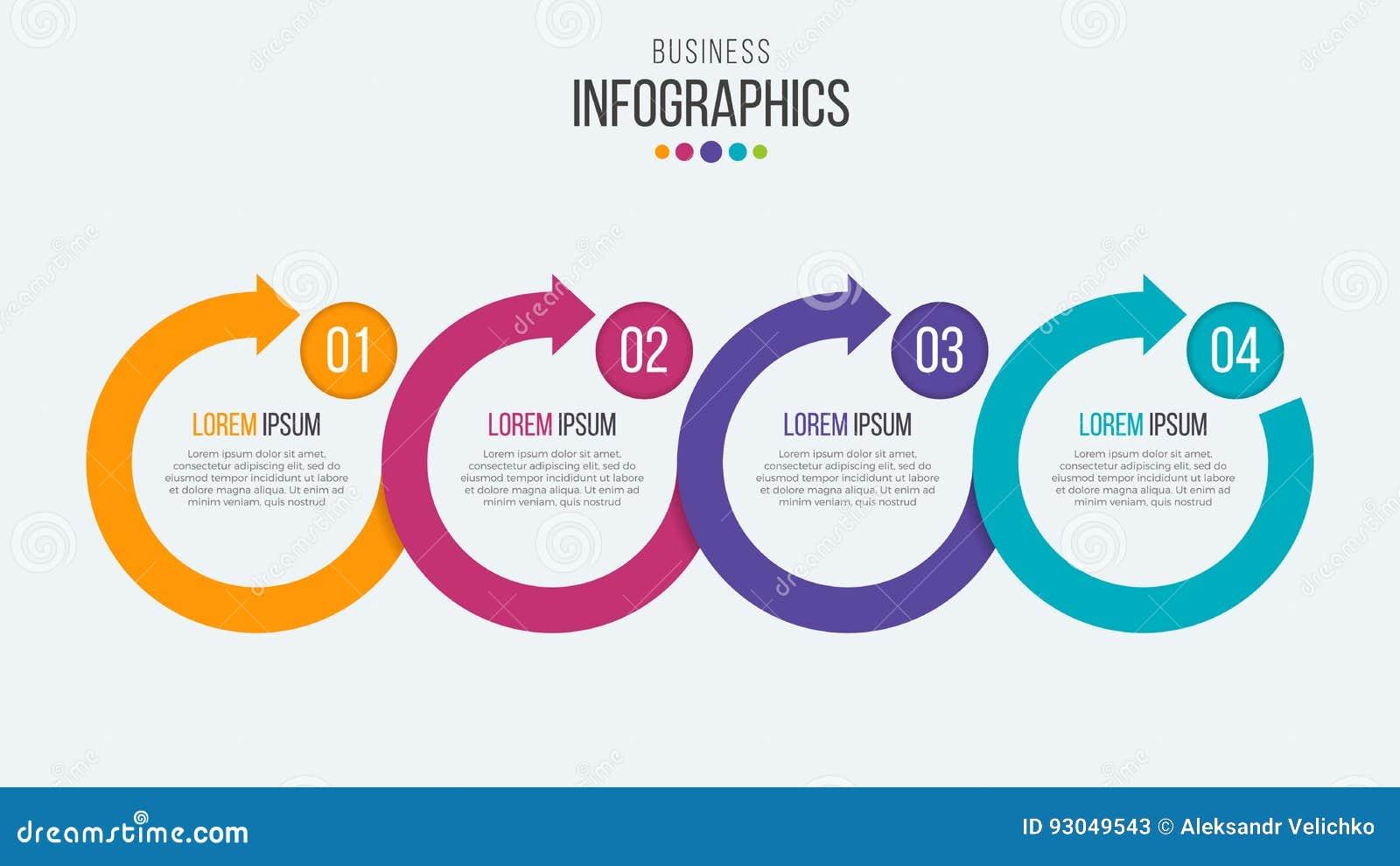 Wektor 4 kroczy linia czasu infographic szablon z kółkową strzała