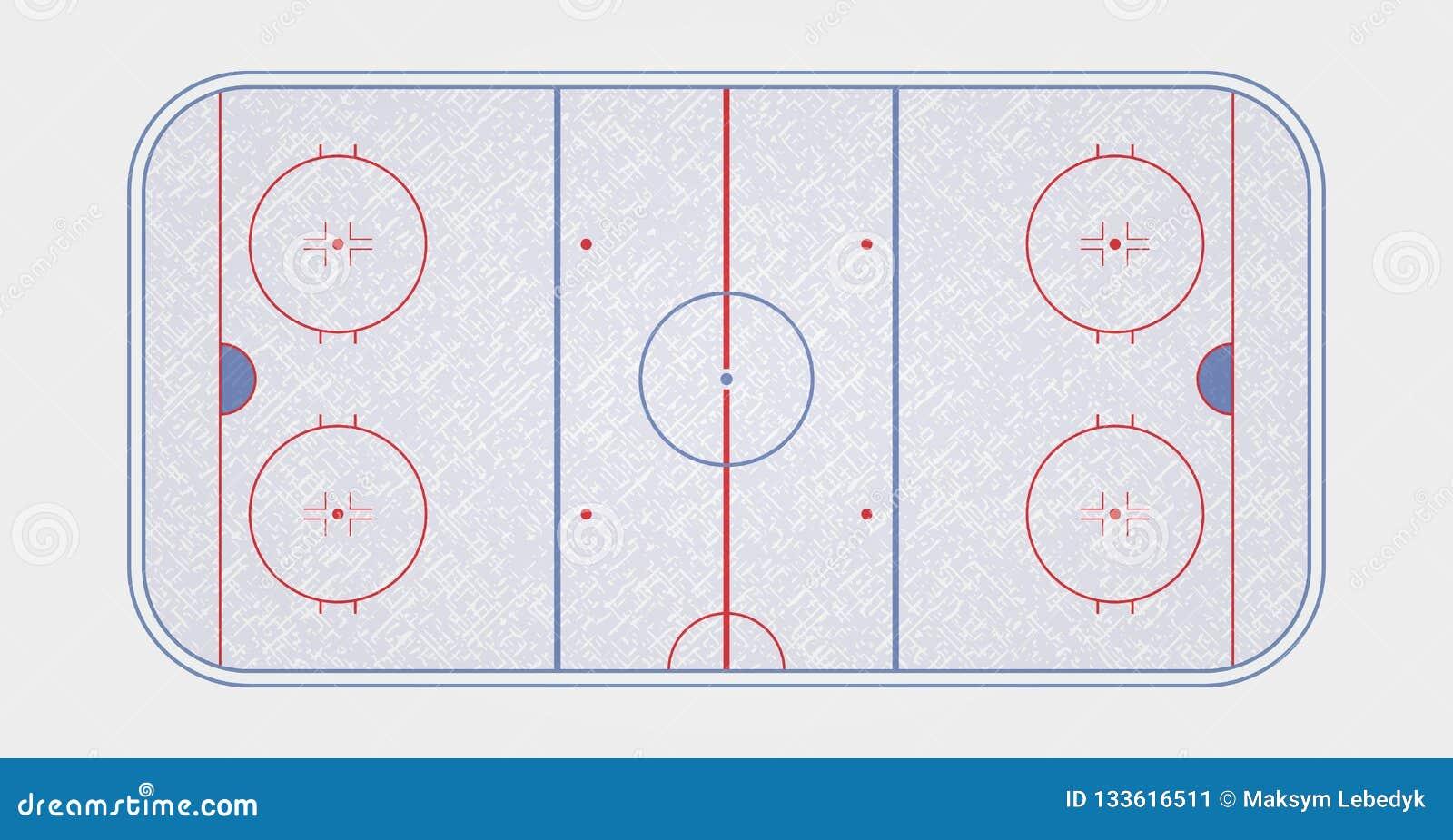 Wektor lodowego hokeja lodowisko Tekstury błękita lód Lodowy lodowisko Odgórny widok