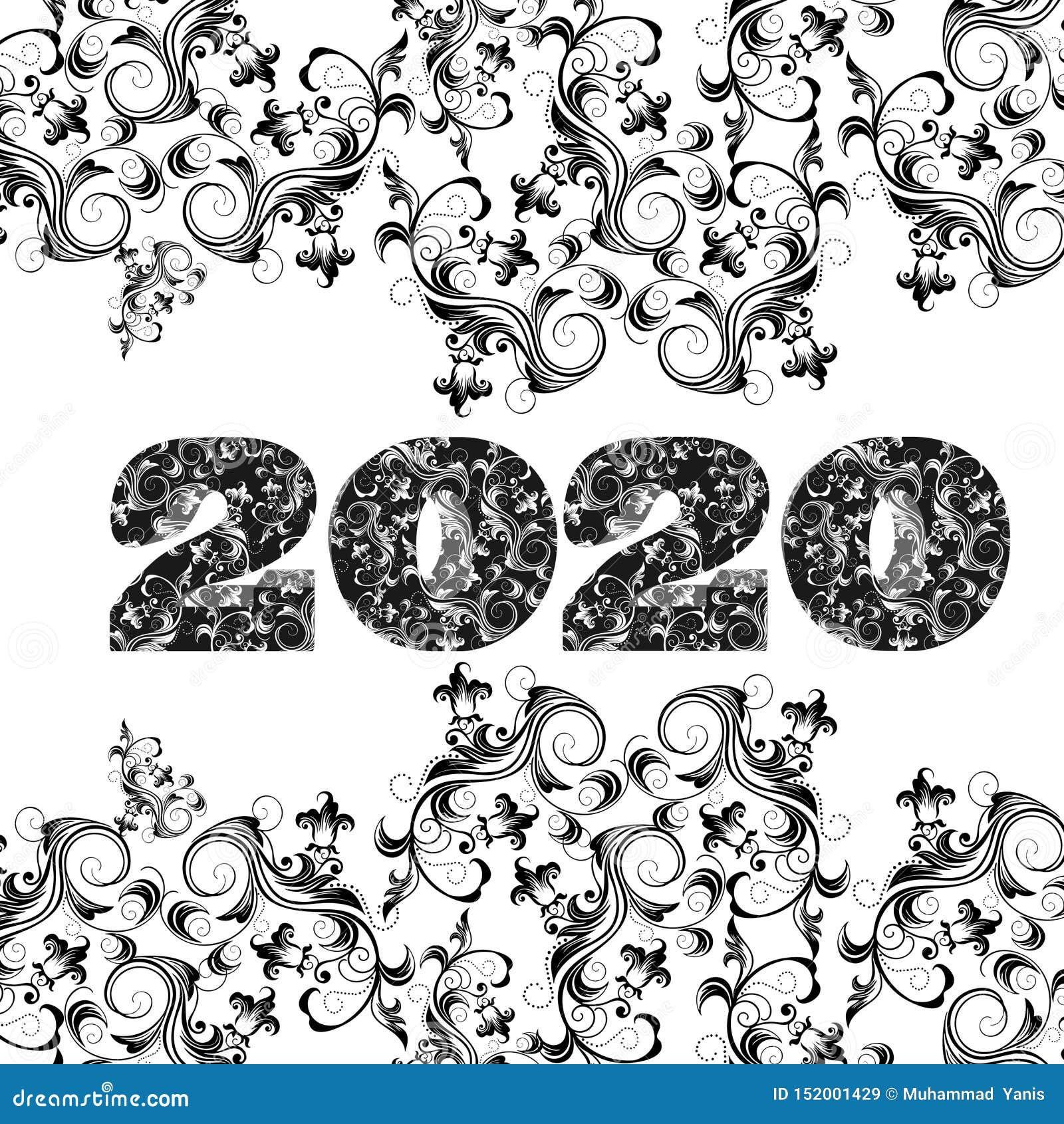 Wektor 2020 M i szczęśliwego nowy rok