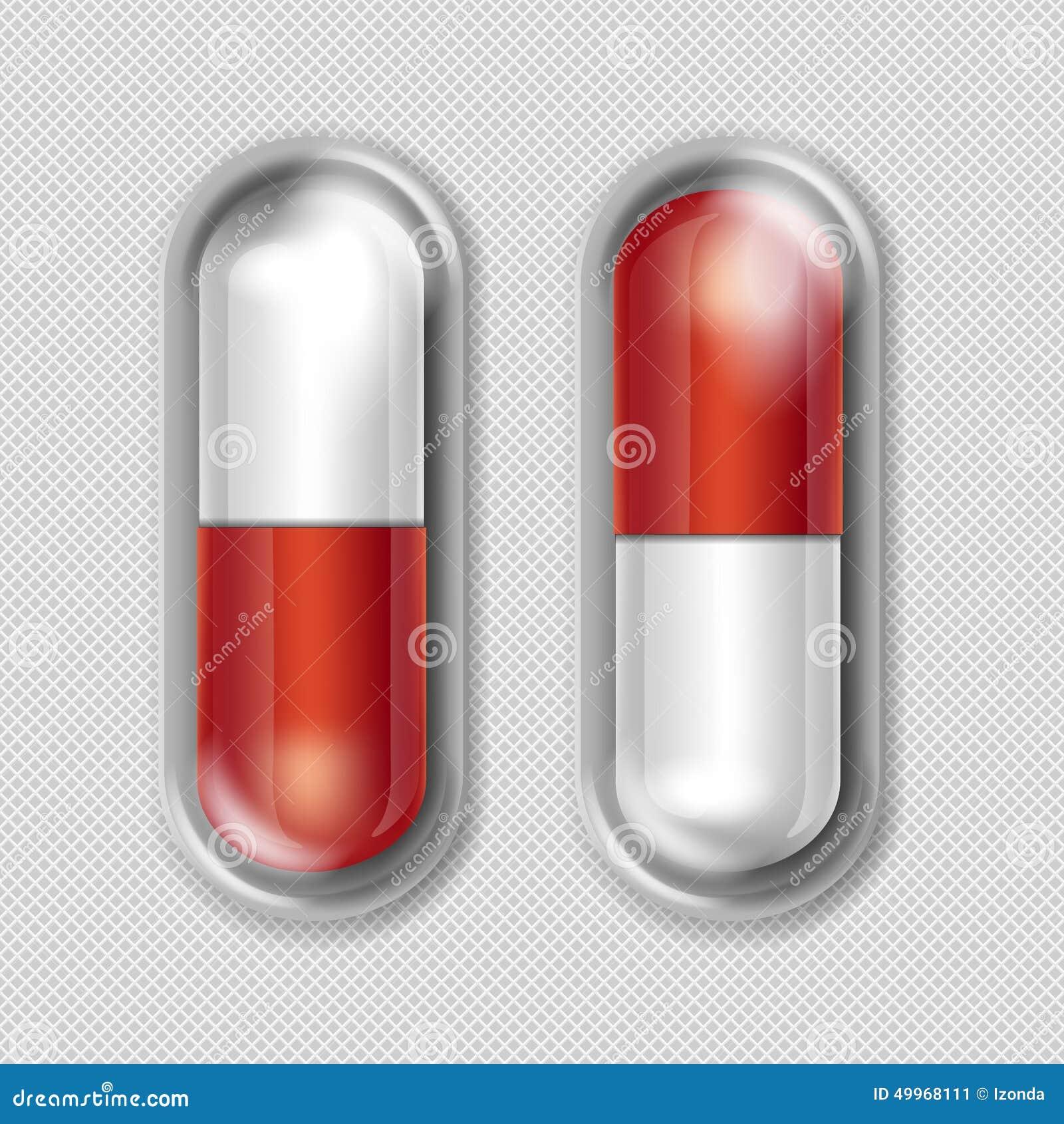 Wektor paczka Czerwone i Białe kapsuły