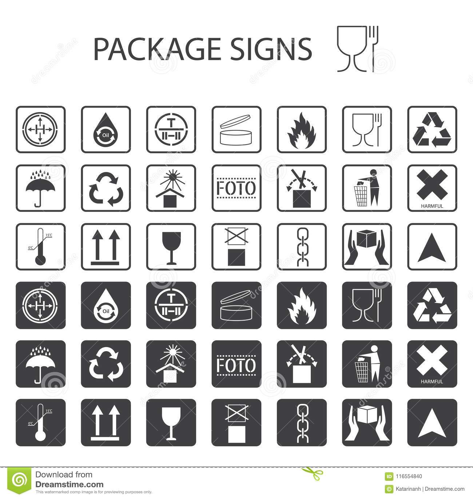 Wektor pakuje symbole na białym tle Wysyłki ikona ustawiająca wliczając przetwarzać, kruchy szelfowy życie produkt, flamm
