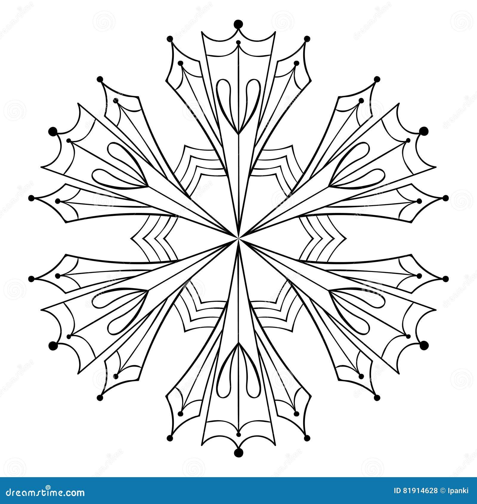 Wektor papierowej wycinanki śnieżny płatek w zentangle stylu, doodle czerń