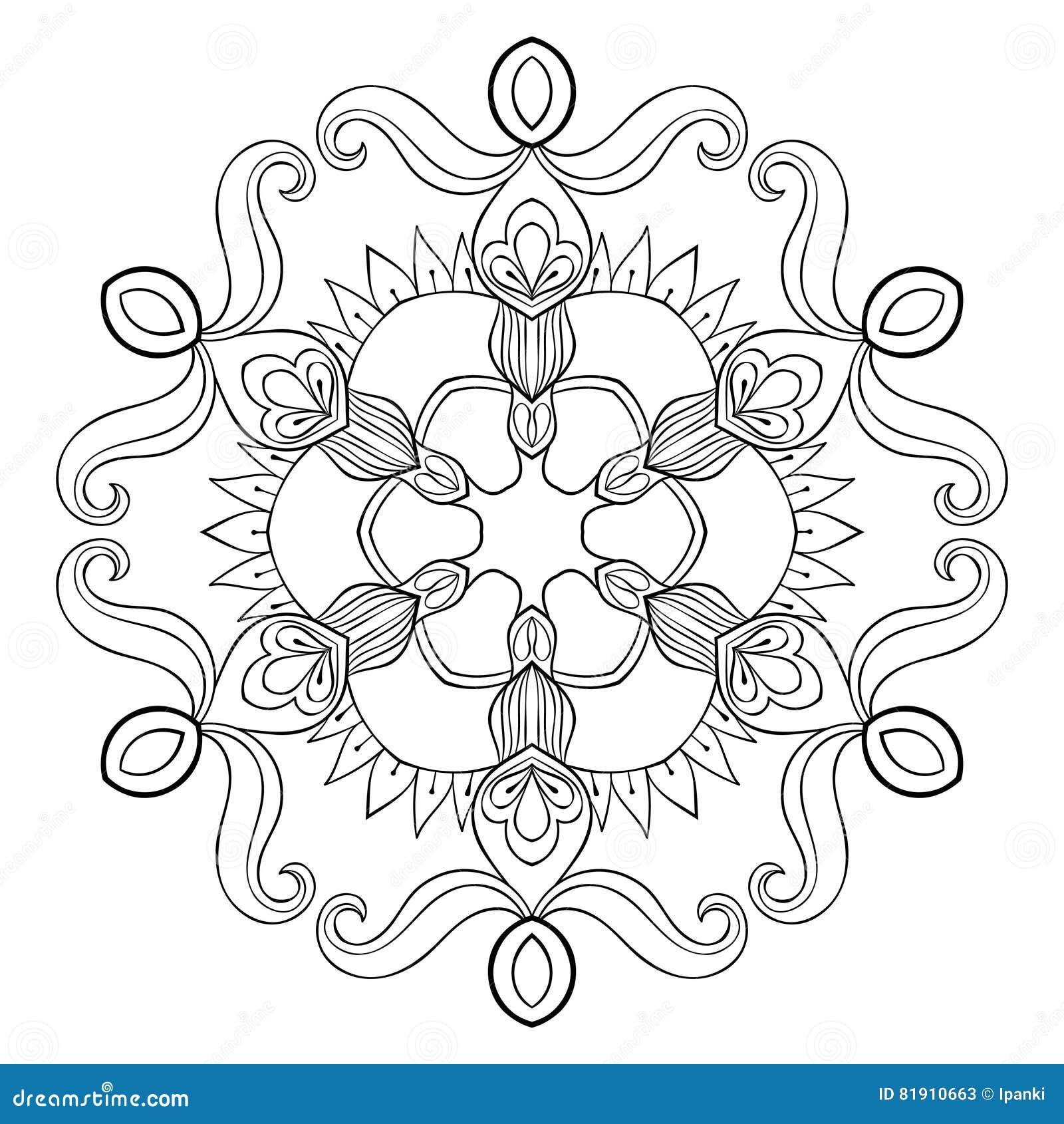 Wektor papierowej wycinanki śnieżny płatek w zentangle stylu, mandala dla a