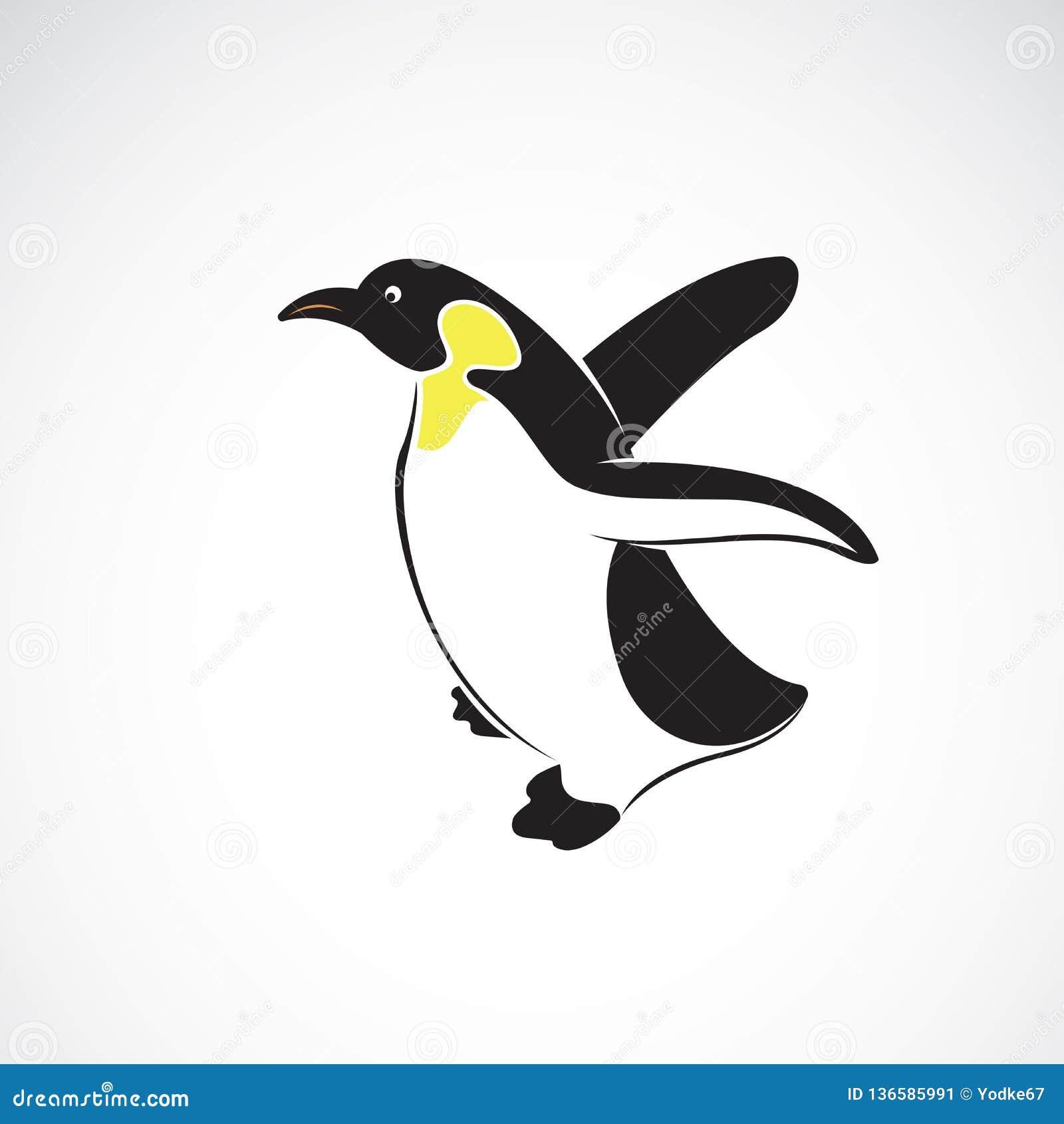 Wektor pingwinu projekt na białym tle , Biegunowy Ptasia Ikona Łatwa editable płatowata wektorowa ilustracja