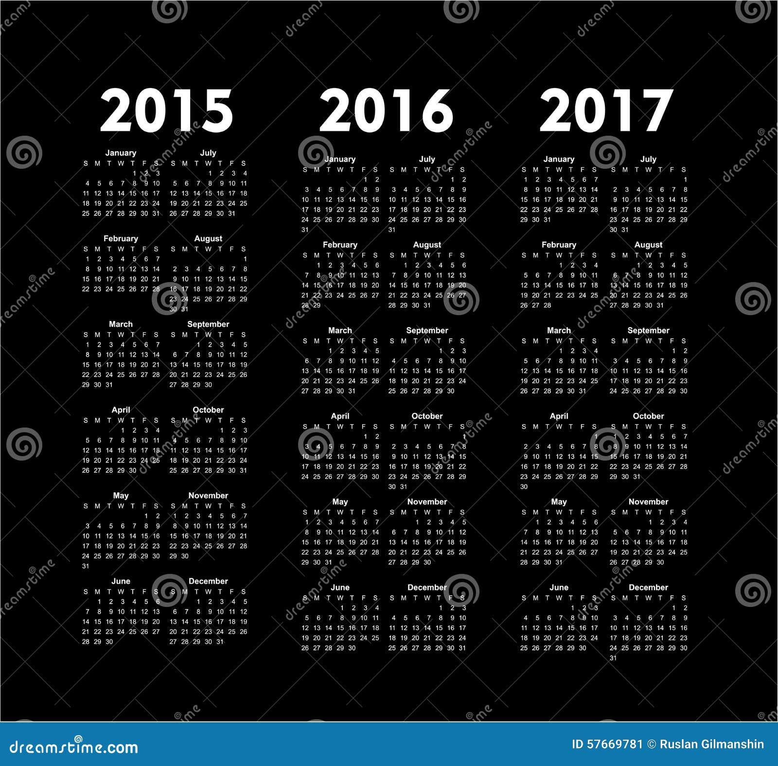 Wektor porządkuje 2015 2016 2017 rok
