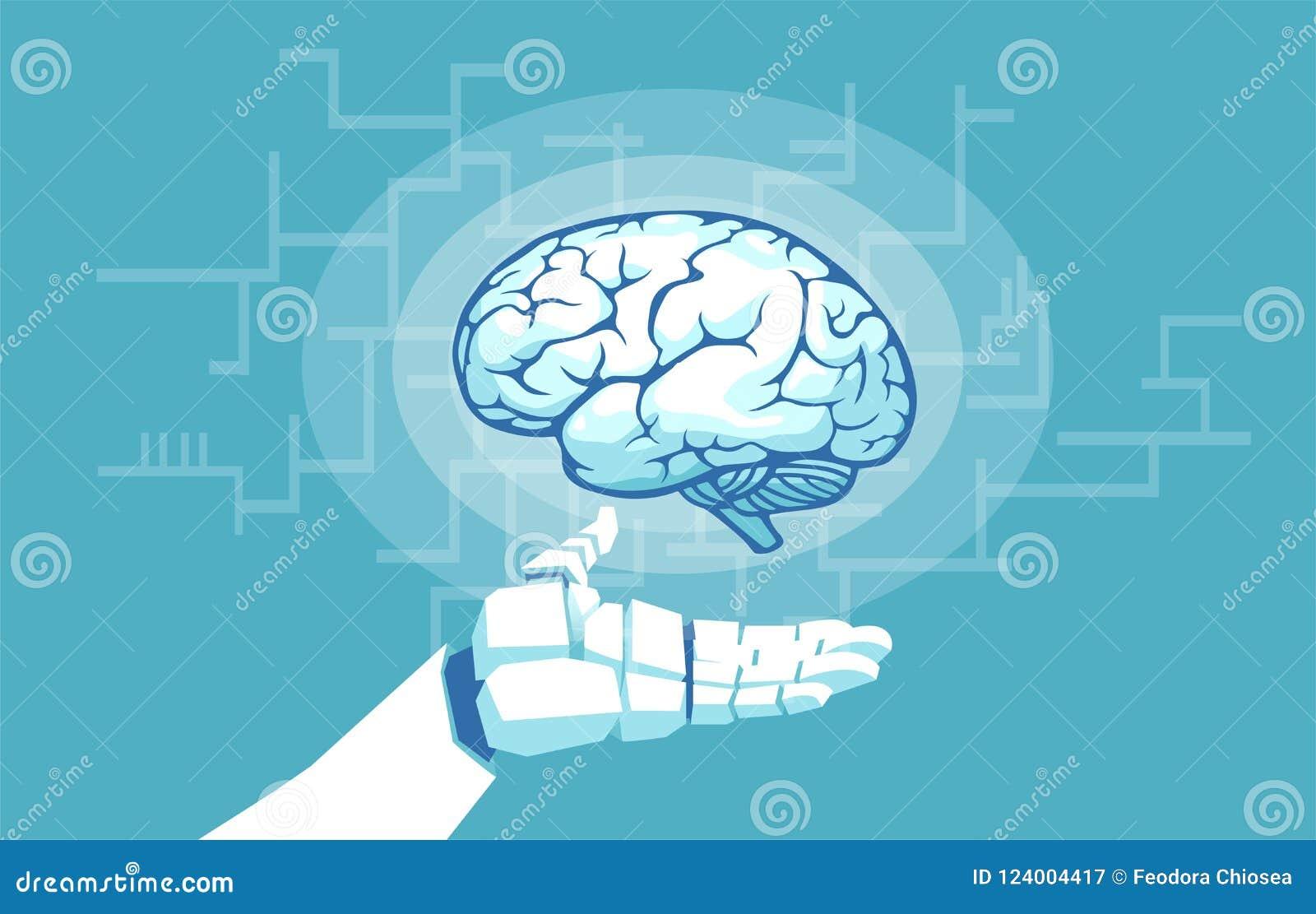 Wektor robot ręki mienie egzamininuje ludzkiego mózg
