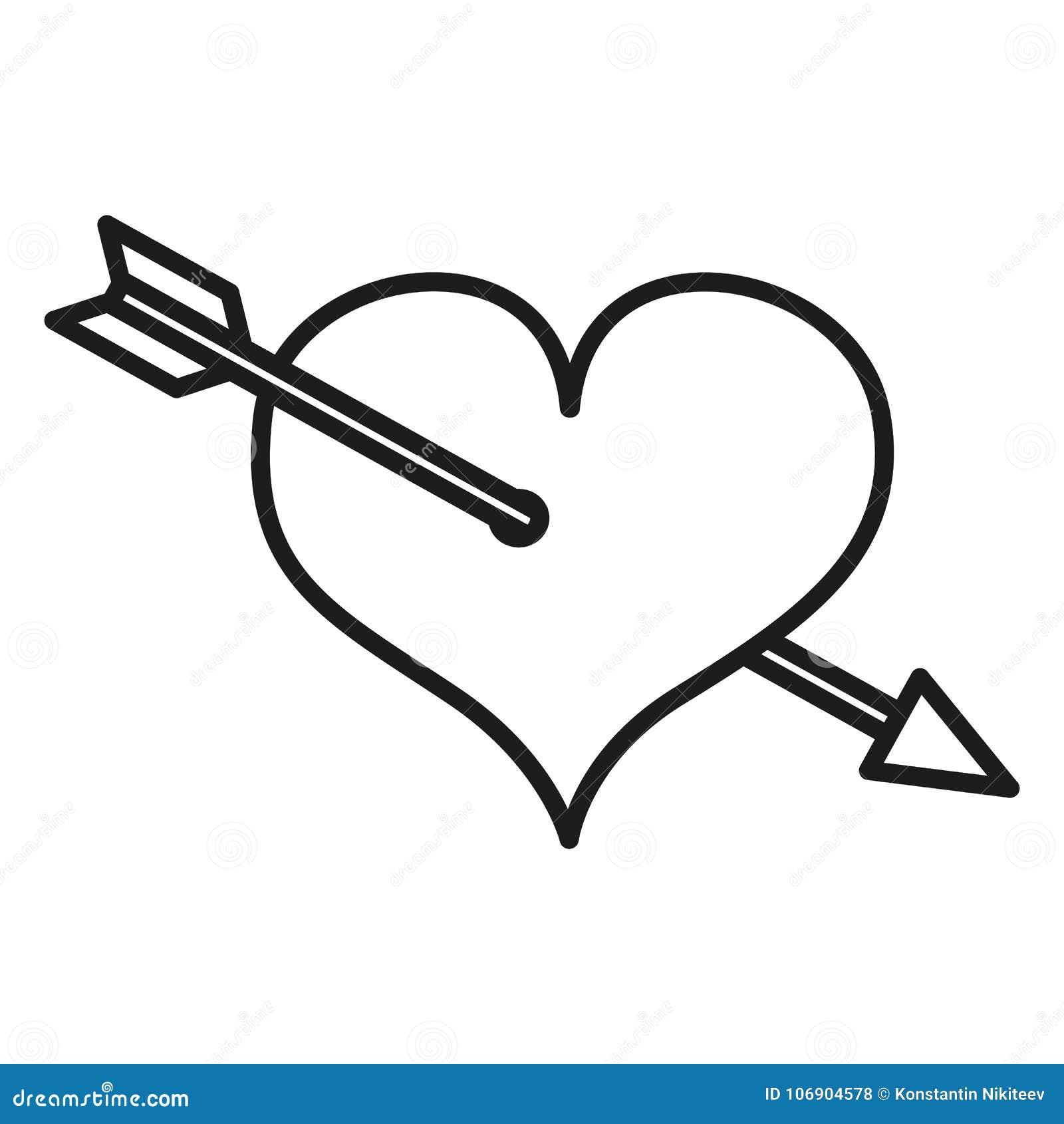 Wektor walentynki Pojedyncza ikona - serce Przebijający z strzała