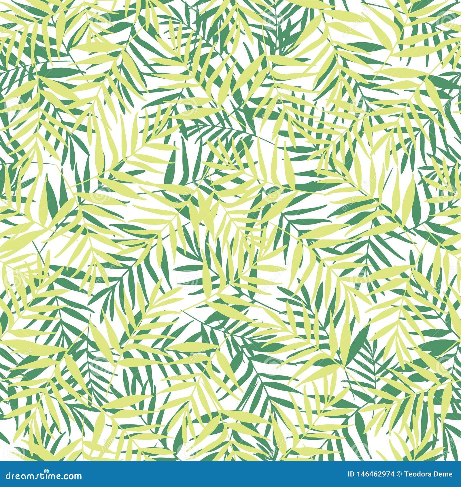 Wektor zielona palma opuszcza bezszwowego deseniowego tło