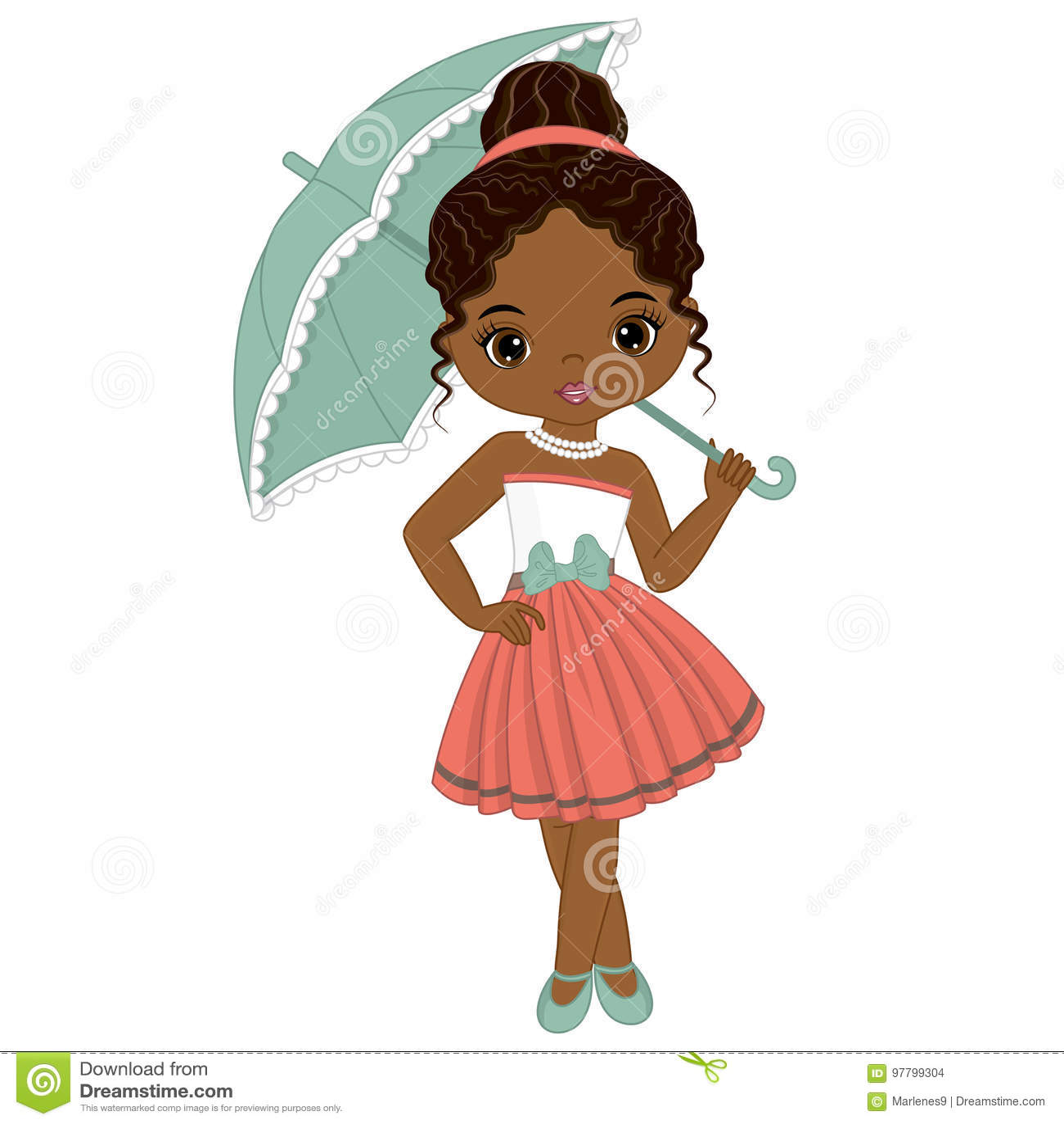 Wektorowa Śliczna Mała amerykanin afrykańskiego pochodzenia dziewczyna w Retro stylu