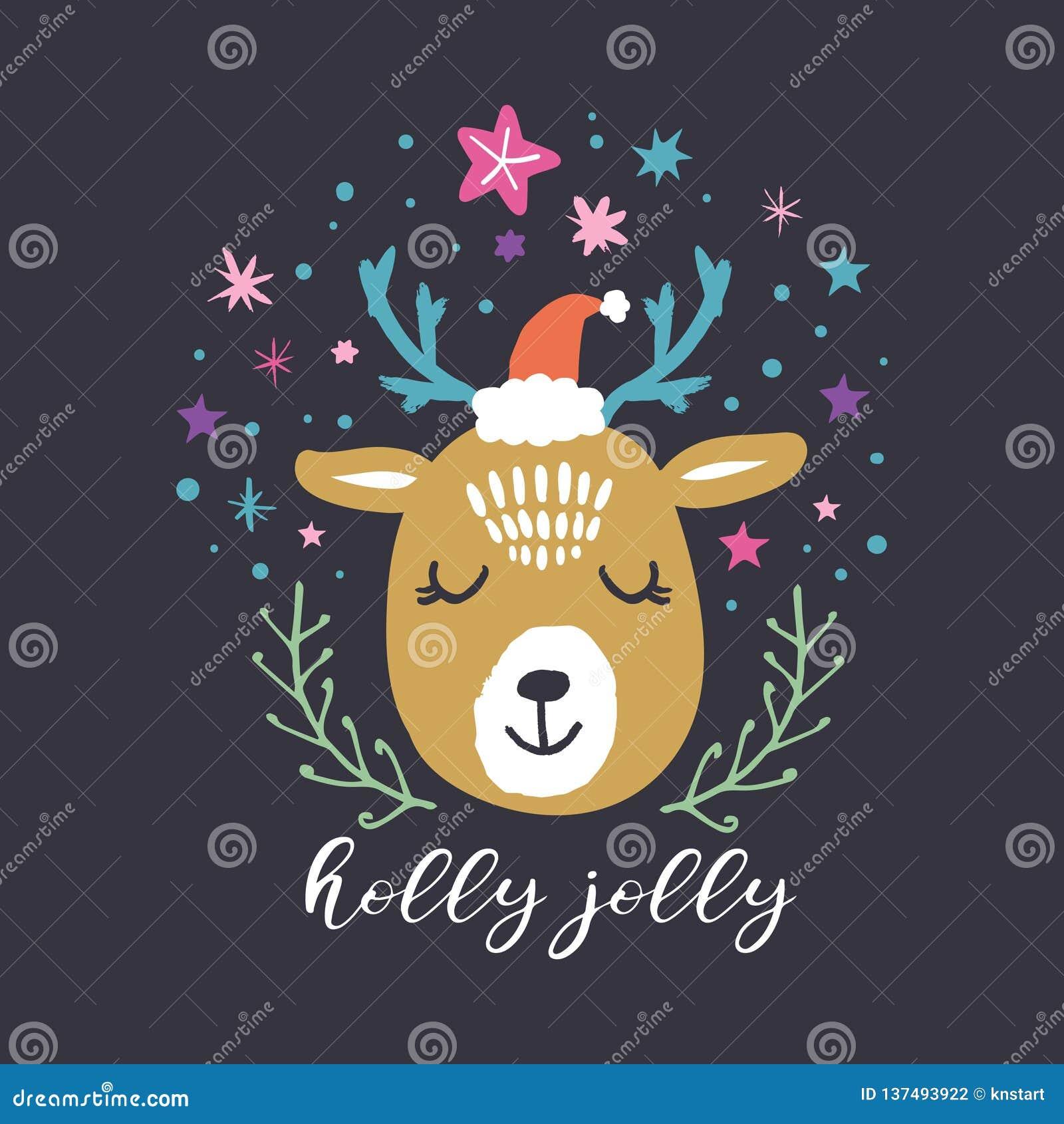 Wektorowa śliczna zima biegunowy jeleni Santa Wesoło boże narodzenia, holly Byczy Pepiniera wakacje ilustracja