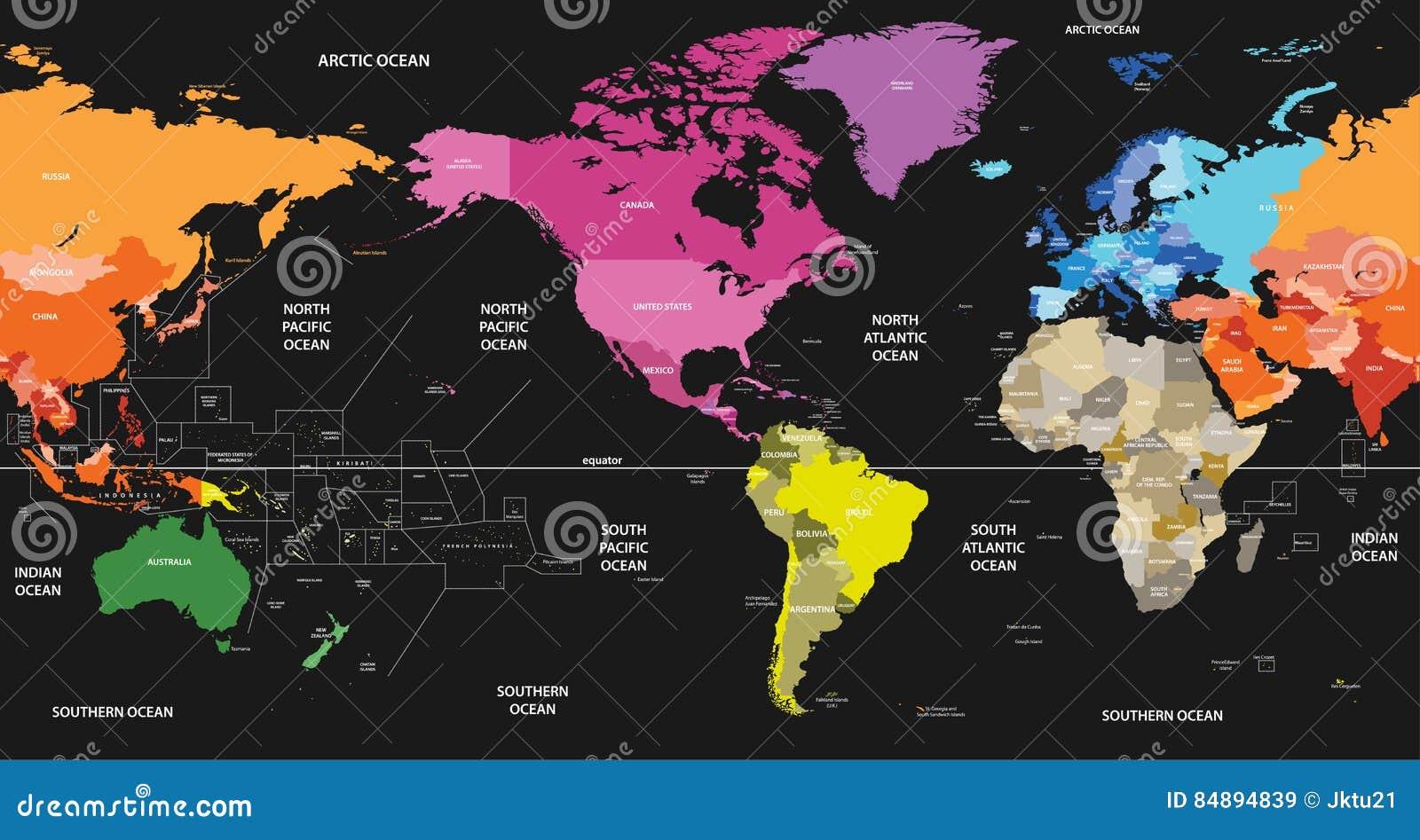 Wektorowa światowa polityczna mapa barwił kontynentami na czarnym tle i ześrodkowywał Ameryka