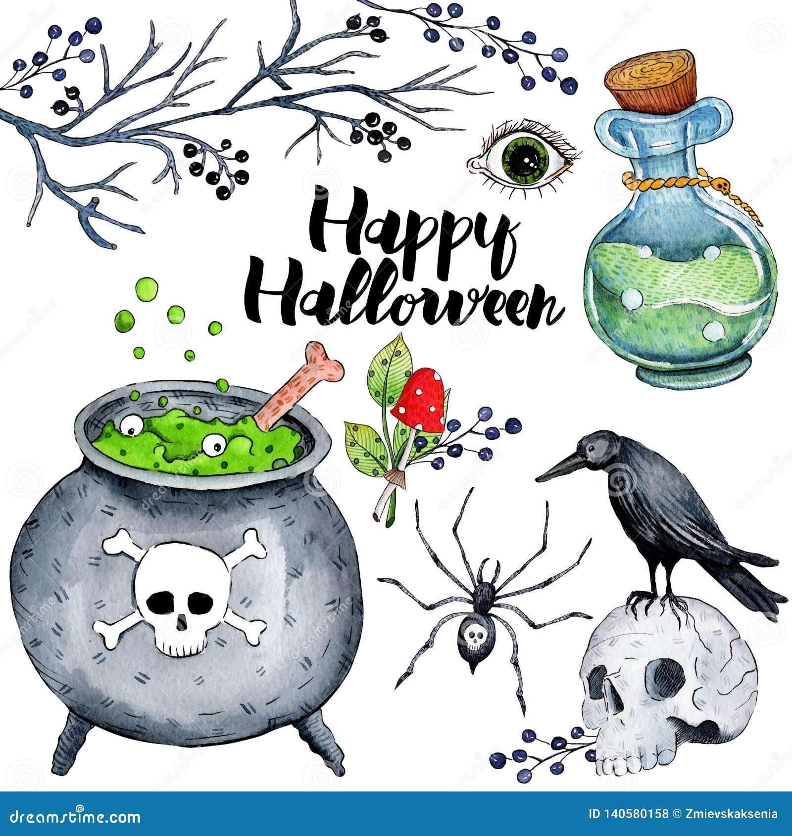 Wektorowa akwareli ilustracja dla Szczęśliwego Halloween 4