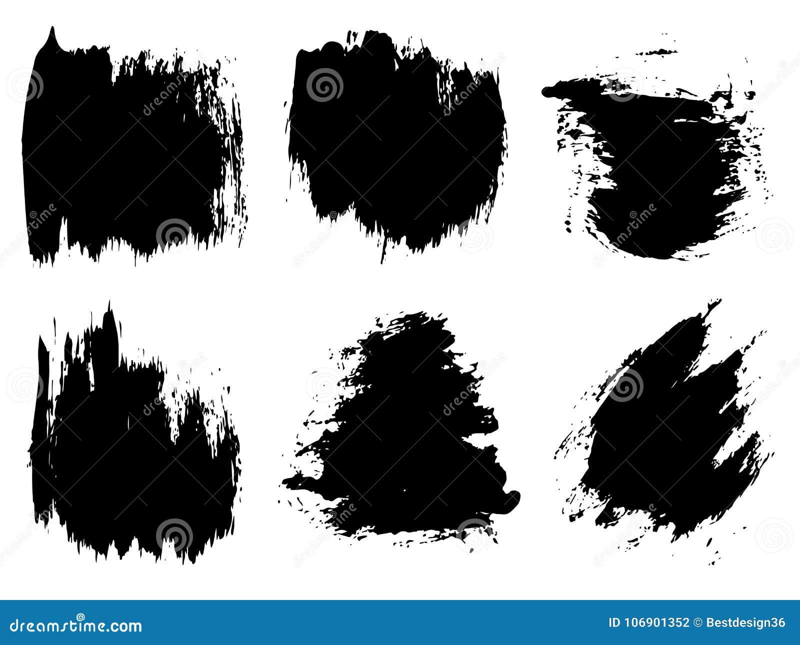 Wektorowa artystyczna czarna farba, atrament lub akrylowy ręcznie robiony,