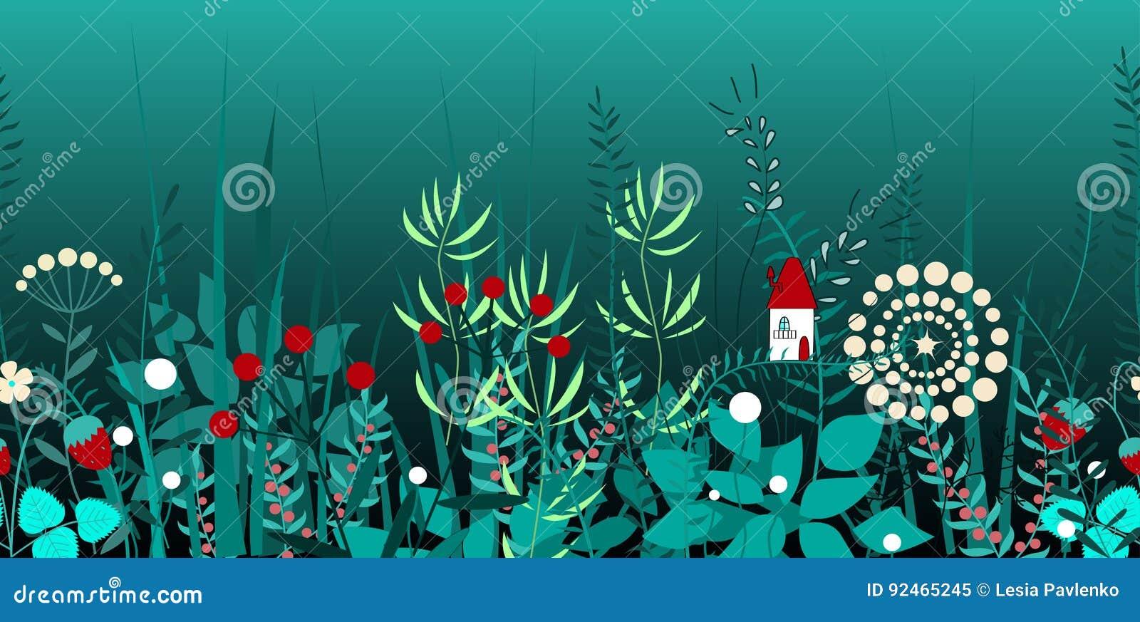 Wektorowa bezszwowa granica z las roślinami i czarodziejka dom, Tło dla ram, dekoracyjna scotch taśma, książki, dzieciaki