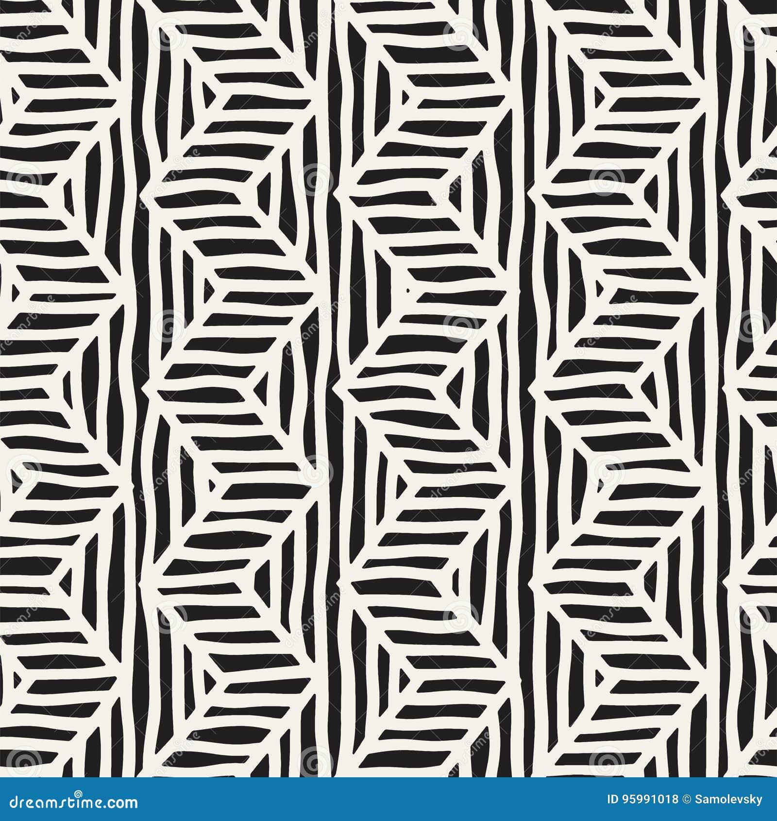 Wektorowa bezszwowa ręka rysujący wzór Zygzag i lampas szorstkie linie plemienny tło projekt Etniczna doodle tekstura