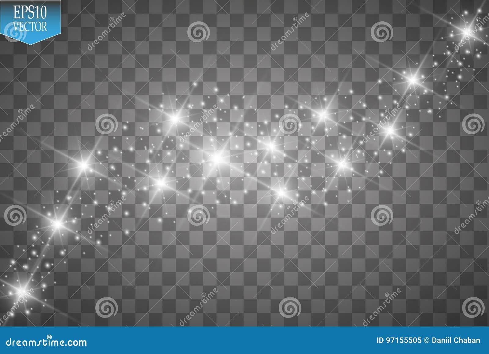 Wektorowa biała błyskotliwości fala ilustracja Białego gwiazdowego pyłu śladu iskrzaste cząsteczki odizolowywać na przejrzystym t
