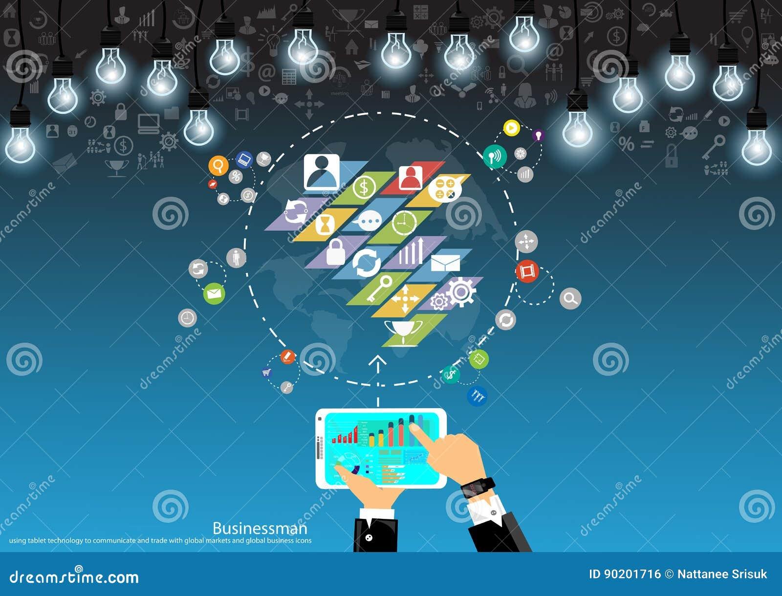 Wektorowa biznesmen branża urządzeń przenośnych komunikuje o handlu i targowej analizy płaskim projekcie
