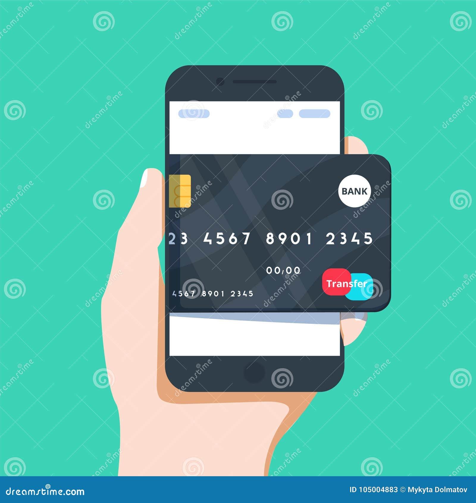 Wektorowa biznesowa ilustracja ręka i telefon komórkowy z kredytowej karty ikoną w mieszkaniu projektujemy
