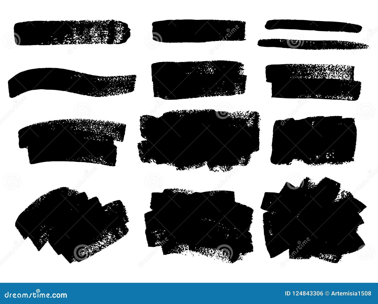 Wektorowa czarna farba, atramentu muśnięcia uderzenie, muśnięcie, linia lub tekstura, Di
