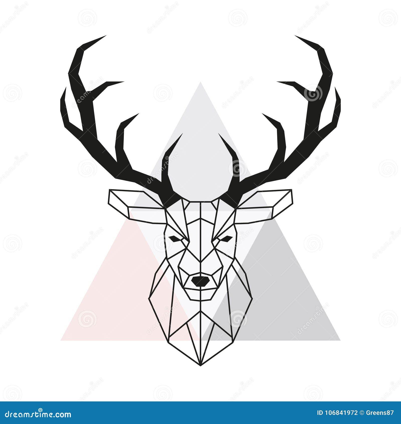 Wektorowa Geometryczna Rogacz Głowa Jeleni Poroże I Głowa