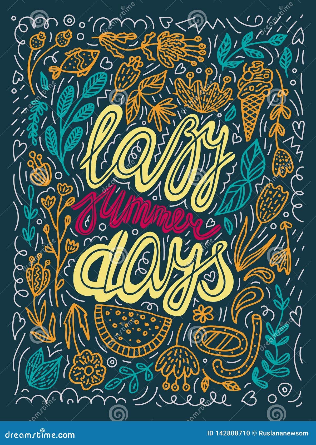 Wektorowa gnuśna letni dzień typografii ilustracja w zieleni, kolor żółty, pomarańcze, czerwoni kolory retro kaligrafii literowan