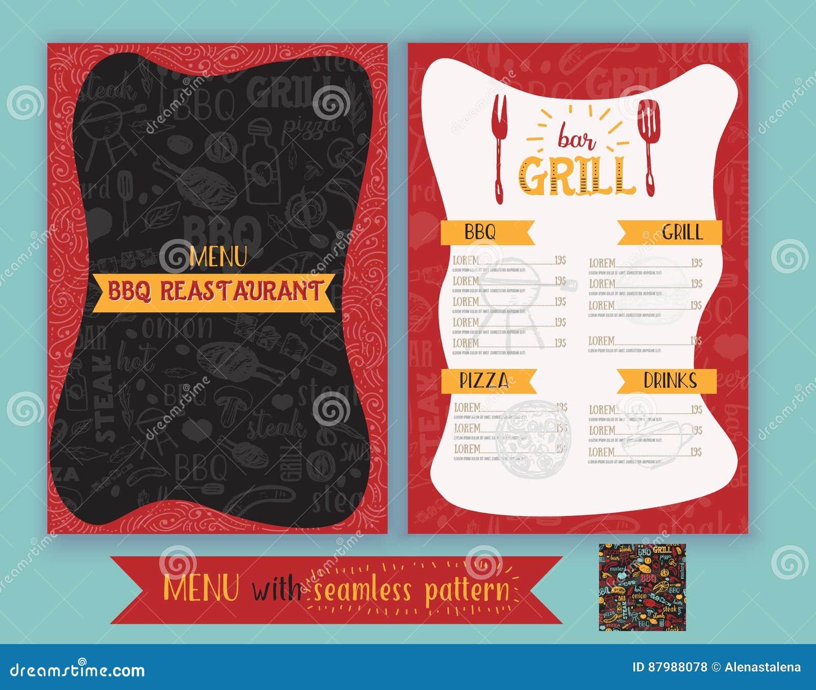 Wektorowa grilla grilla restauraci ulotka, menu projekt Wektorowy szablon z pociągany ręcznie grafiką i bezszwowym bbq wzorem