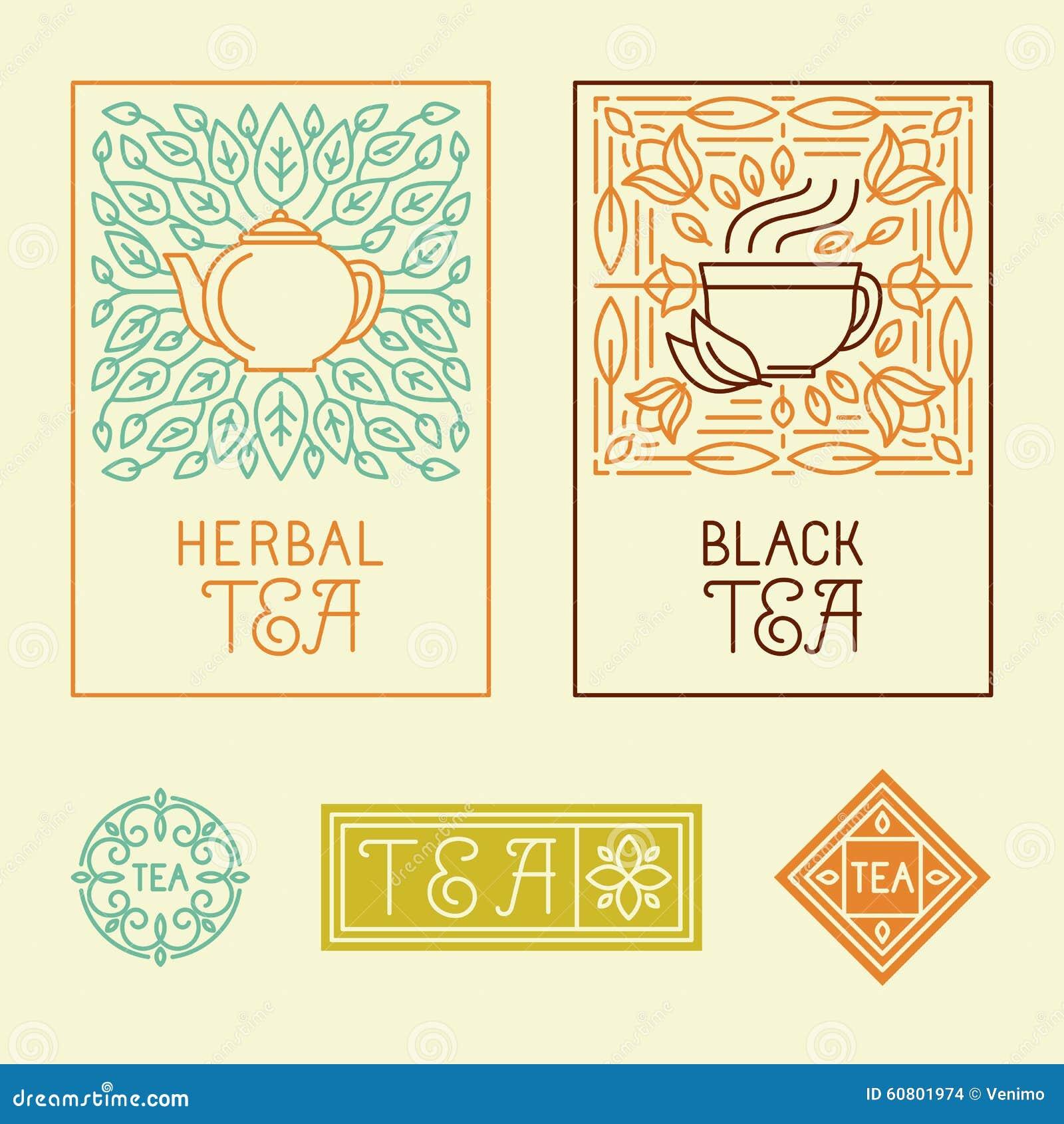 Wektorowa herbata pakuje etykietki i odznaki w modnym liniowym stylu