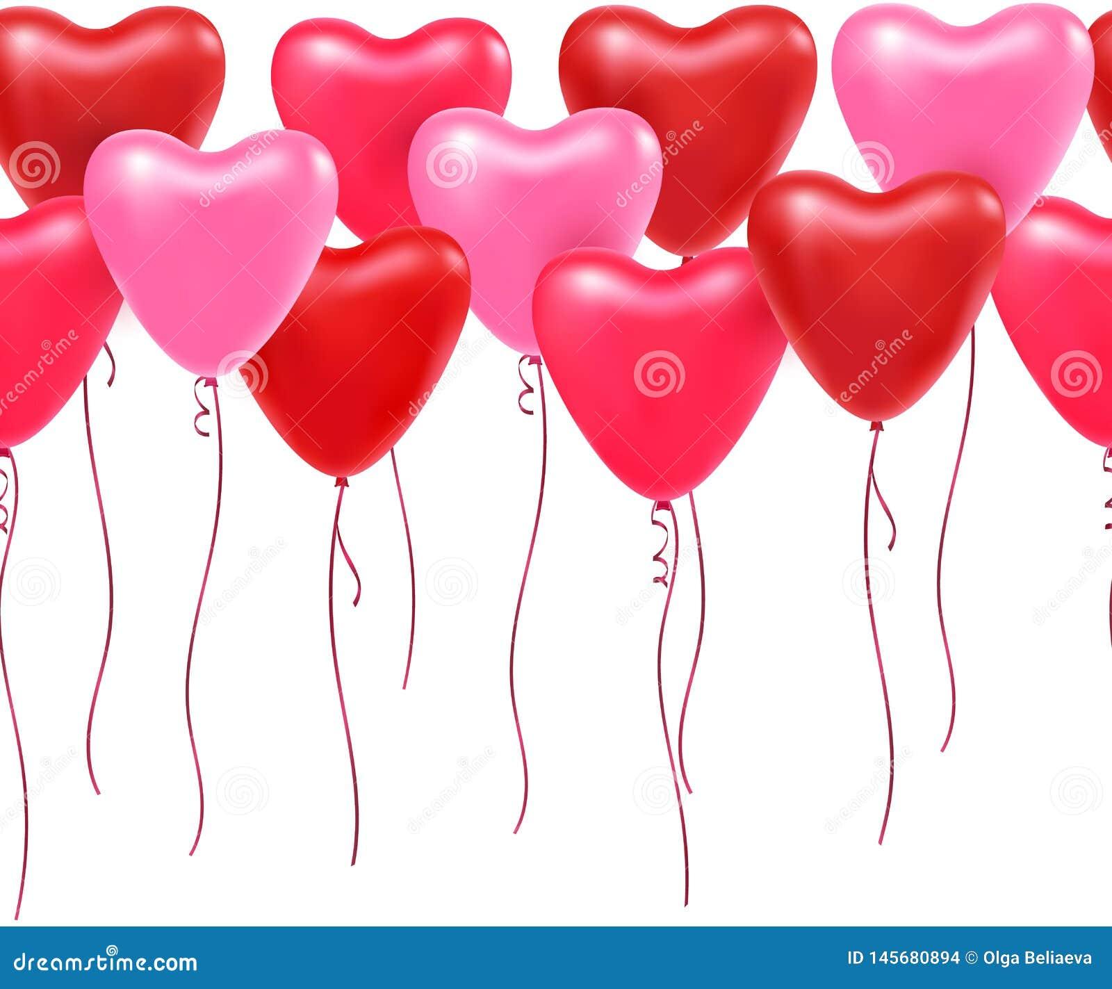 Wektorowa horyzontalna niekończący się granica z balonowymi sercami