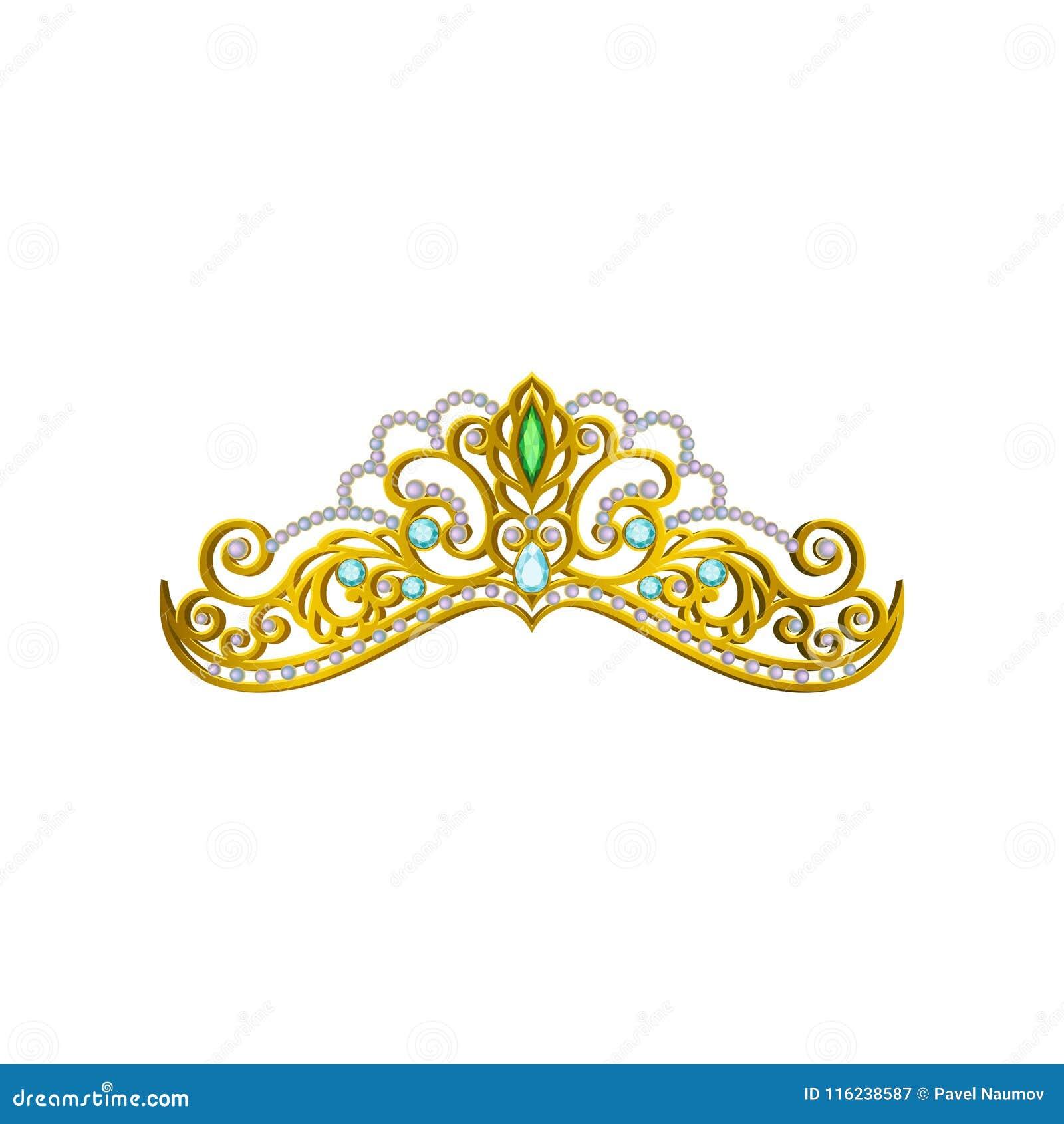 Wektorowa ikona piękna princess tiara dekorująca z błękita i zieleni gemstones Błyszcząca złota korona Akcesorium królowa