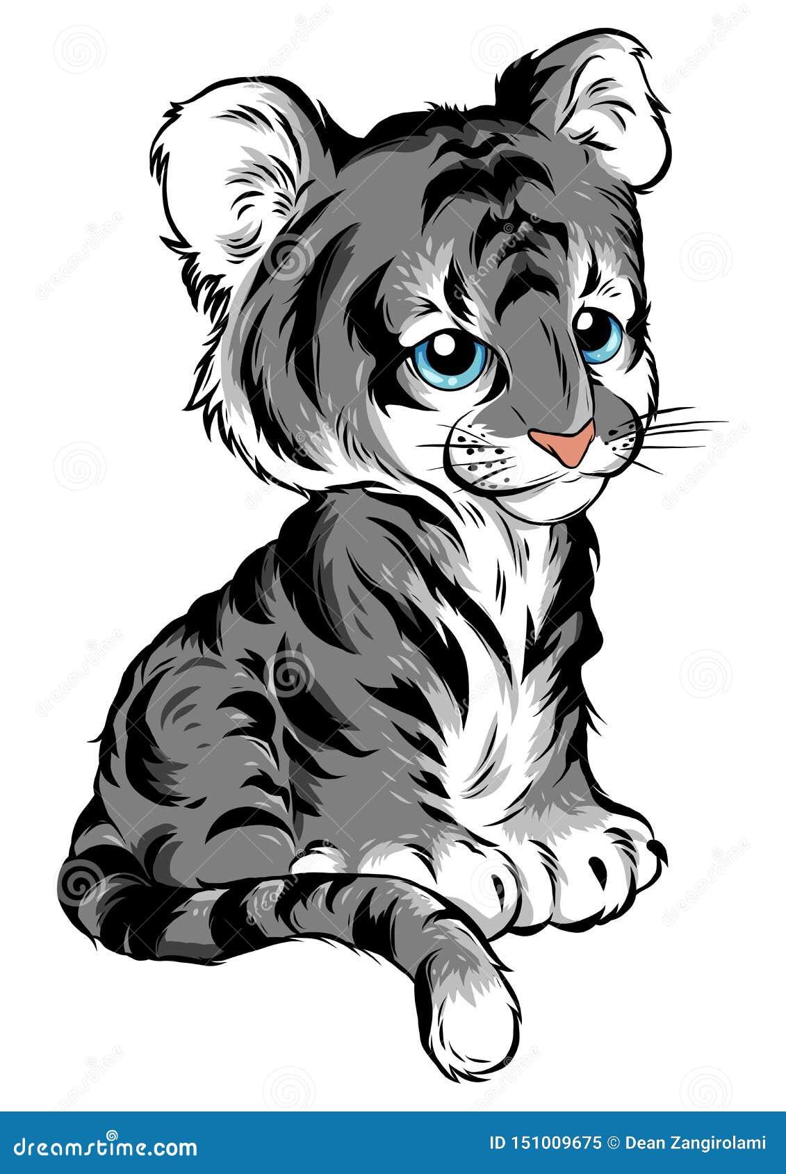Wektorowa ilustracja śliczni dziecko tygrysa kłamstwa