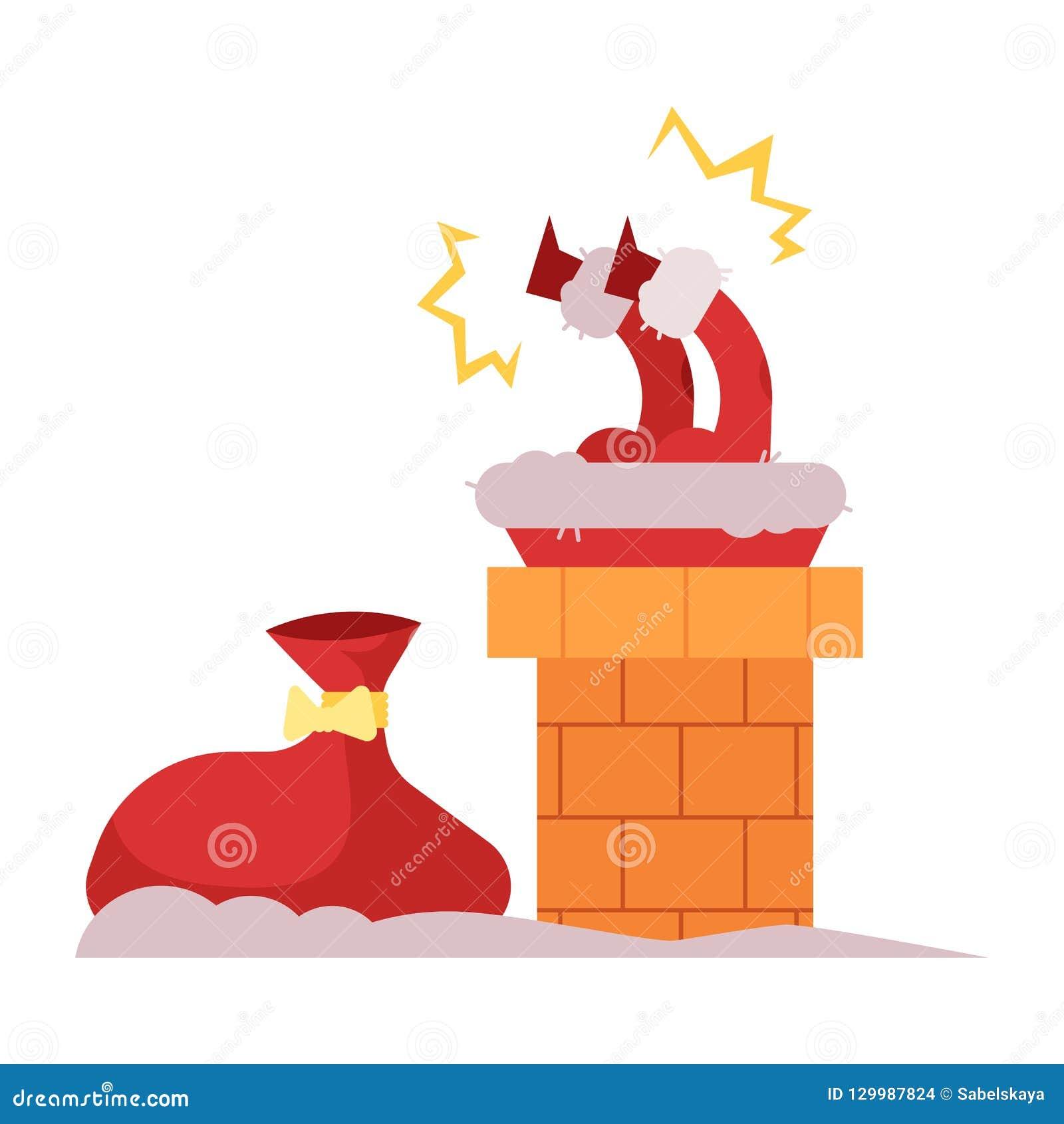 Wektorowa ilustracja Święty Mikołaj próbuje przychodzić puszek dawać Bożenarodzeniowym prezentom wtykał w kominie