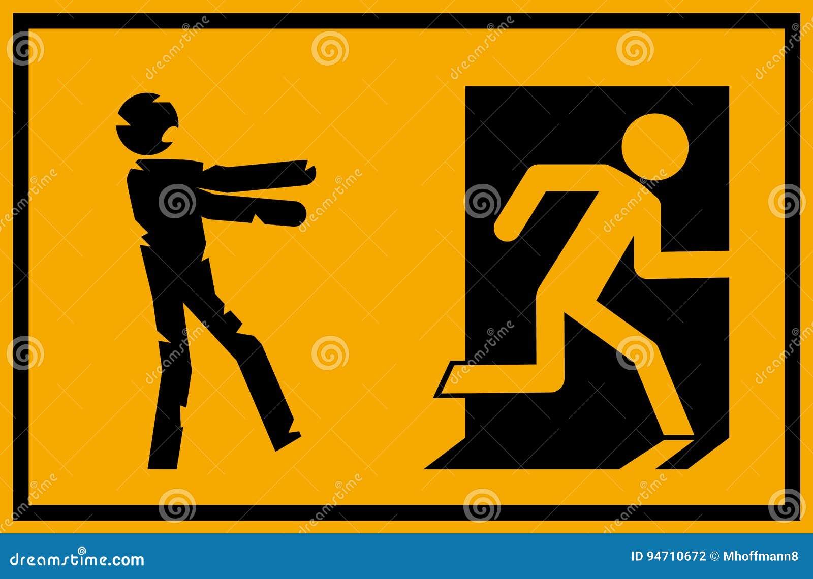 Wektorowa ilustracja - żywego trupu wyjścia ewakuacyjnego znak z kij postaci sylwetki undead goni osoby próbuje uciekać